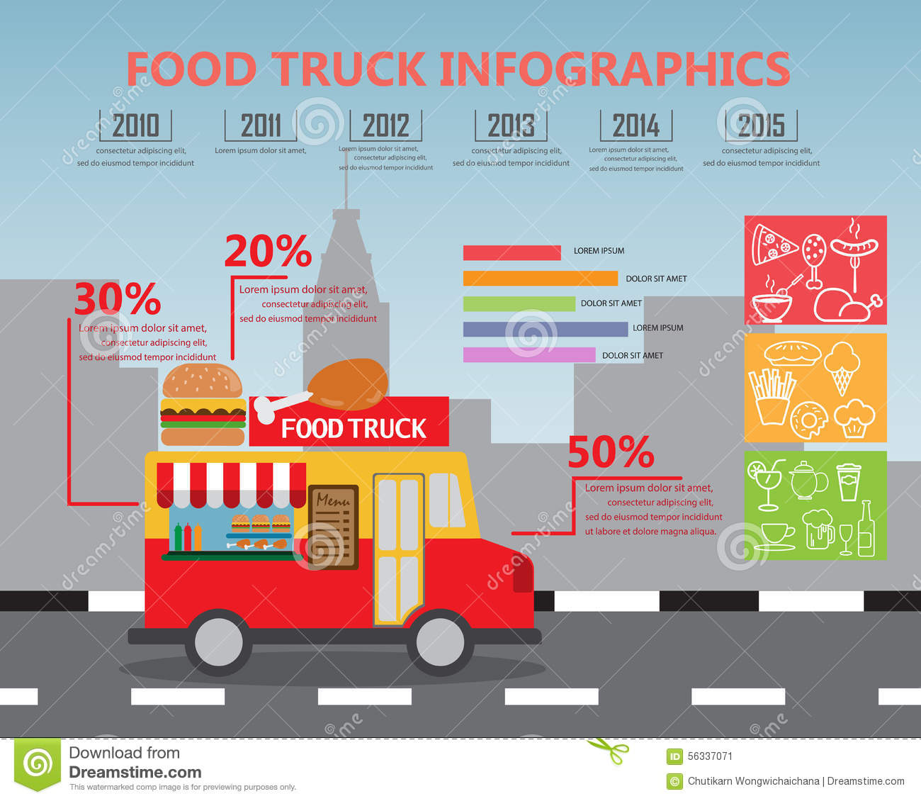 fod truck infographics stock vector