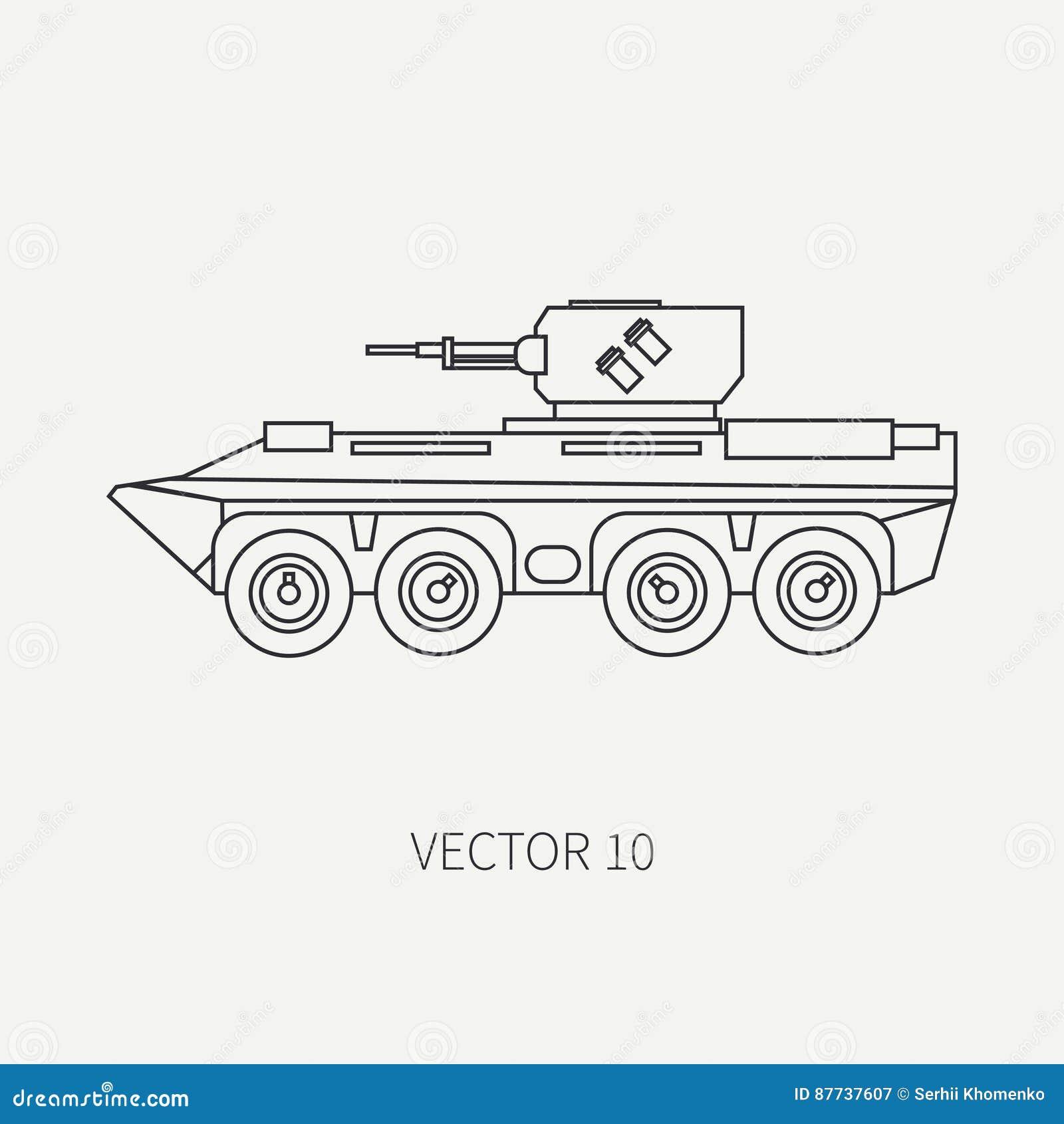 Fodra för vektorsymbolen för den plana slätten lastbilen för armén för anfall för infanteri den bepansrade Militärt Amphibious me