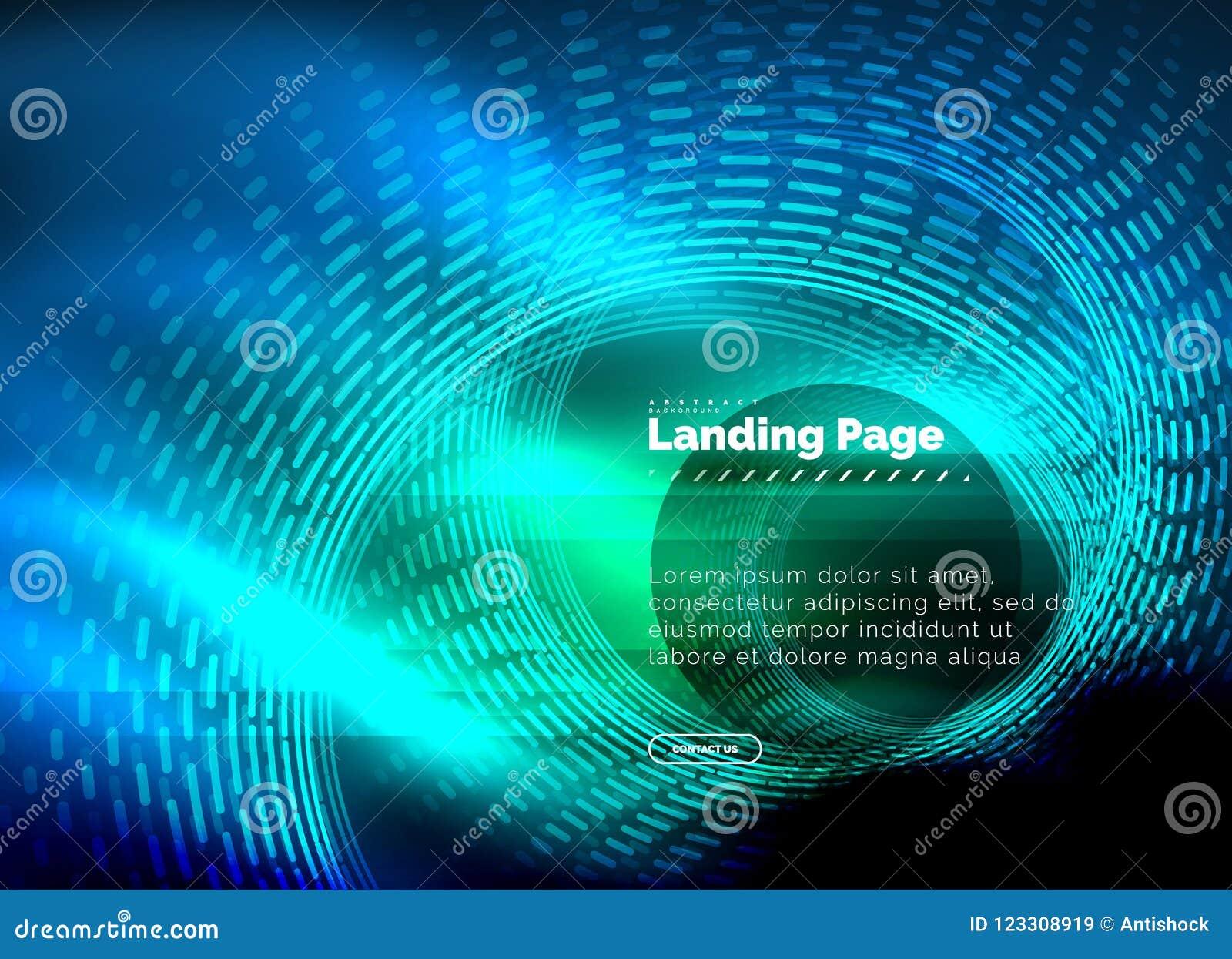 Fodrar den glödande technoen för neon, den högteknologiska futuristiska abstrakta bakgrundsmallen med cirklar som landar sidamall
