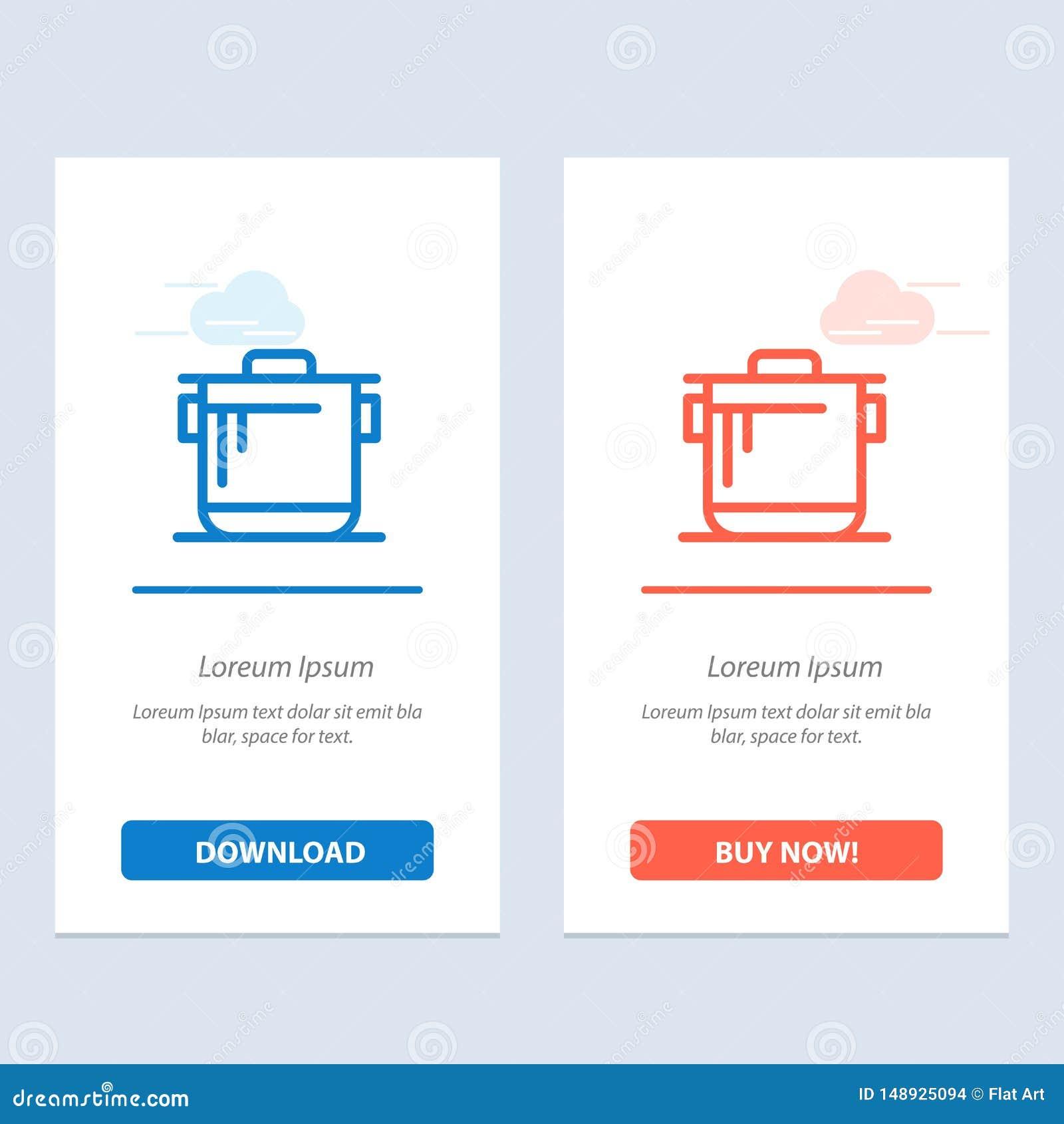 Fogão, cozinha, arroz, cozinheiro Blue e transferência vermelha e para comprar agora o molde do cartão do Widget da Web