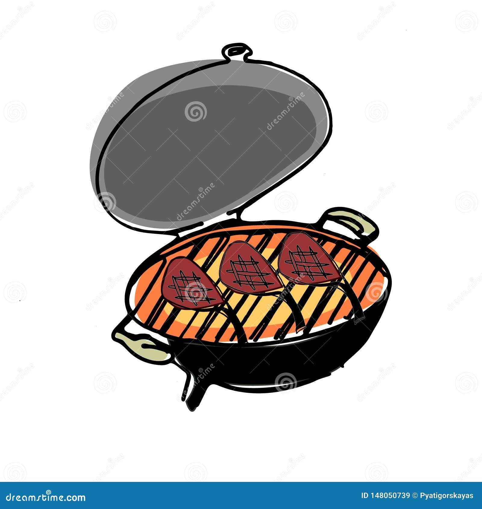 Fogão tirado mão do BBQ com carne do churrasco