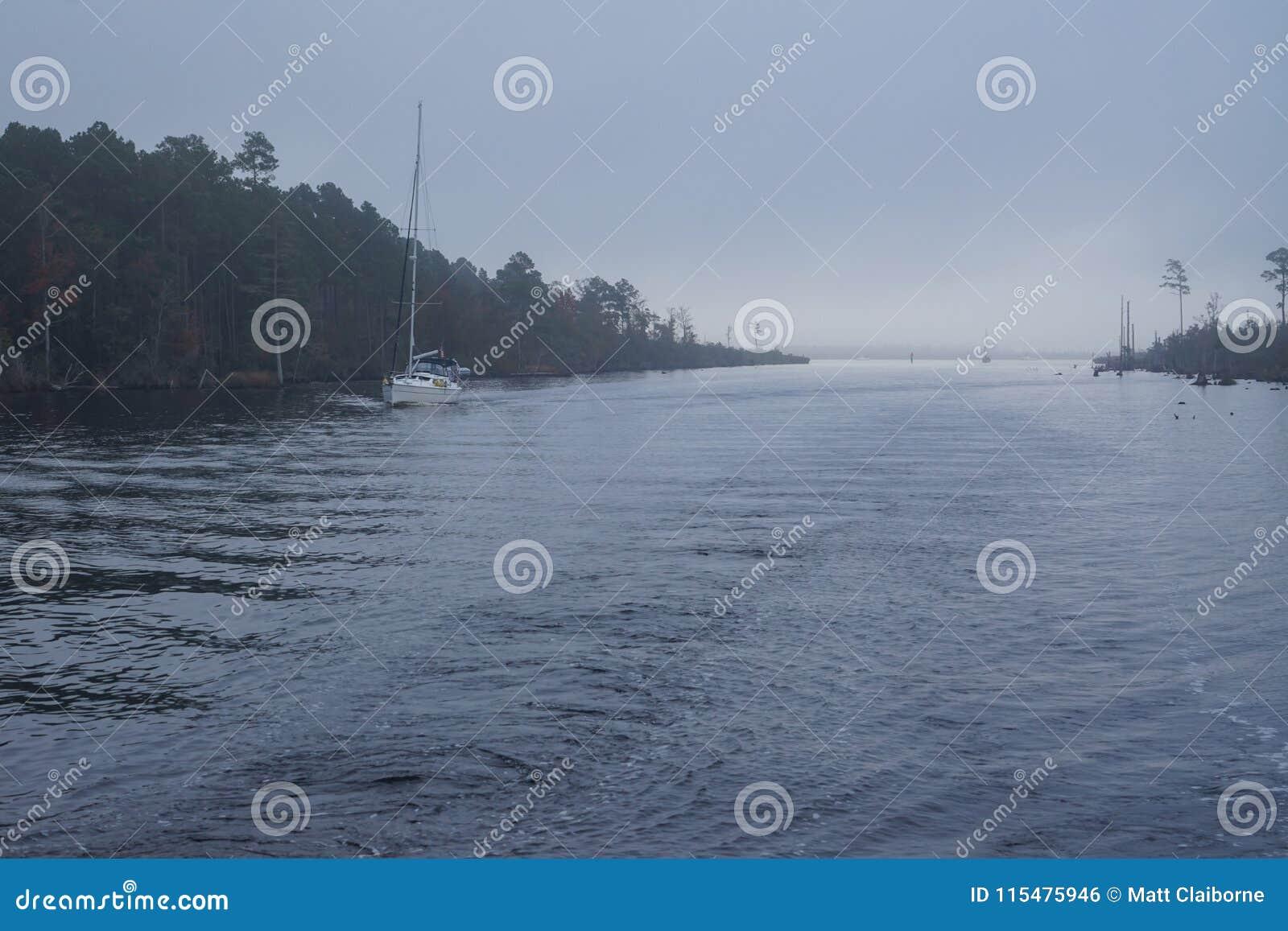 Fog On Atlantic Intracoastal Waterway Stock Photo - Image of sailing