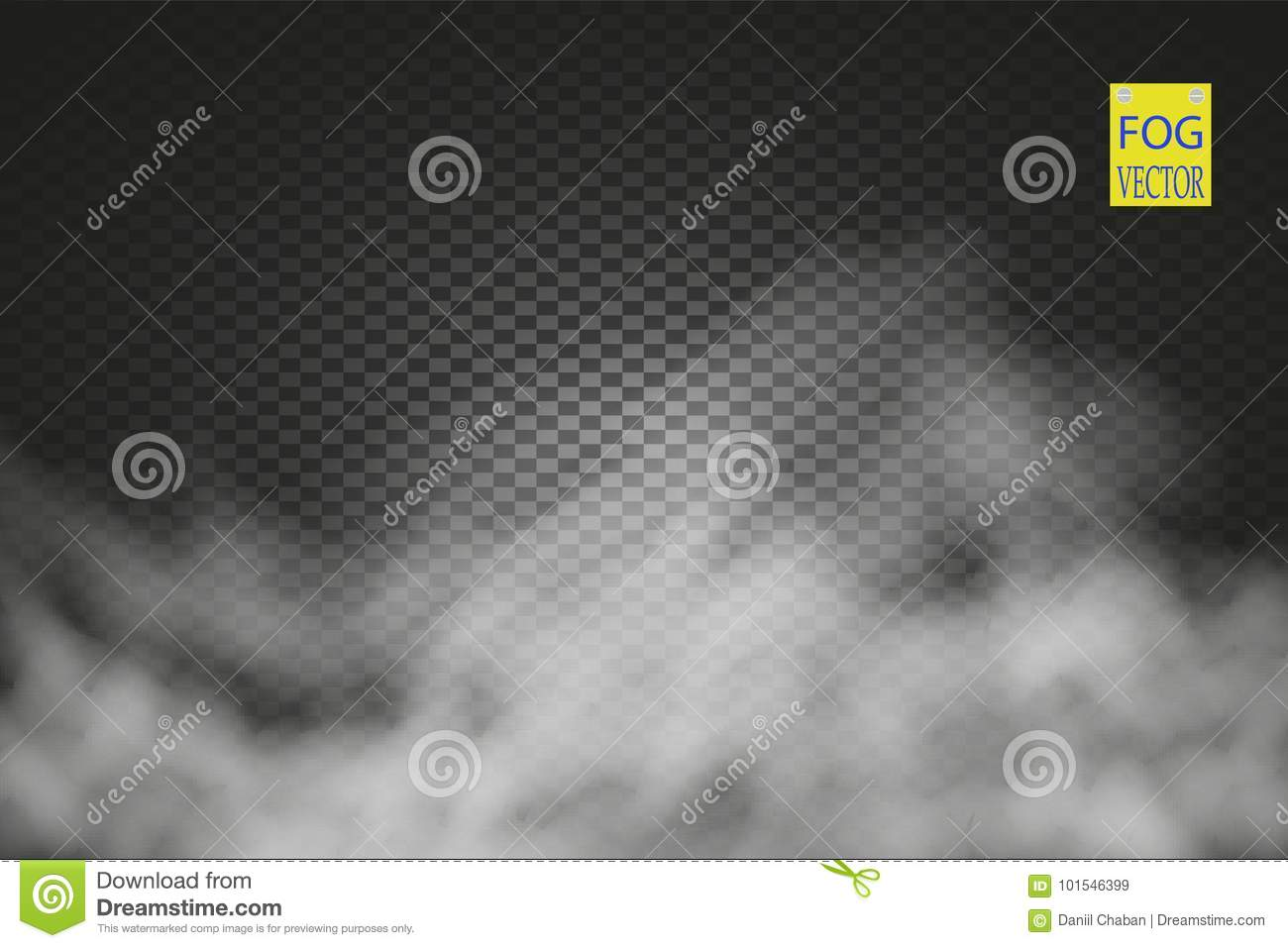 Fog or smoke transparent special effect. White vector cloudiness, mist or smog background. Vector