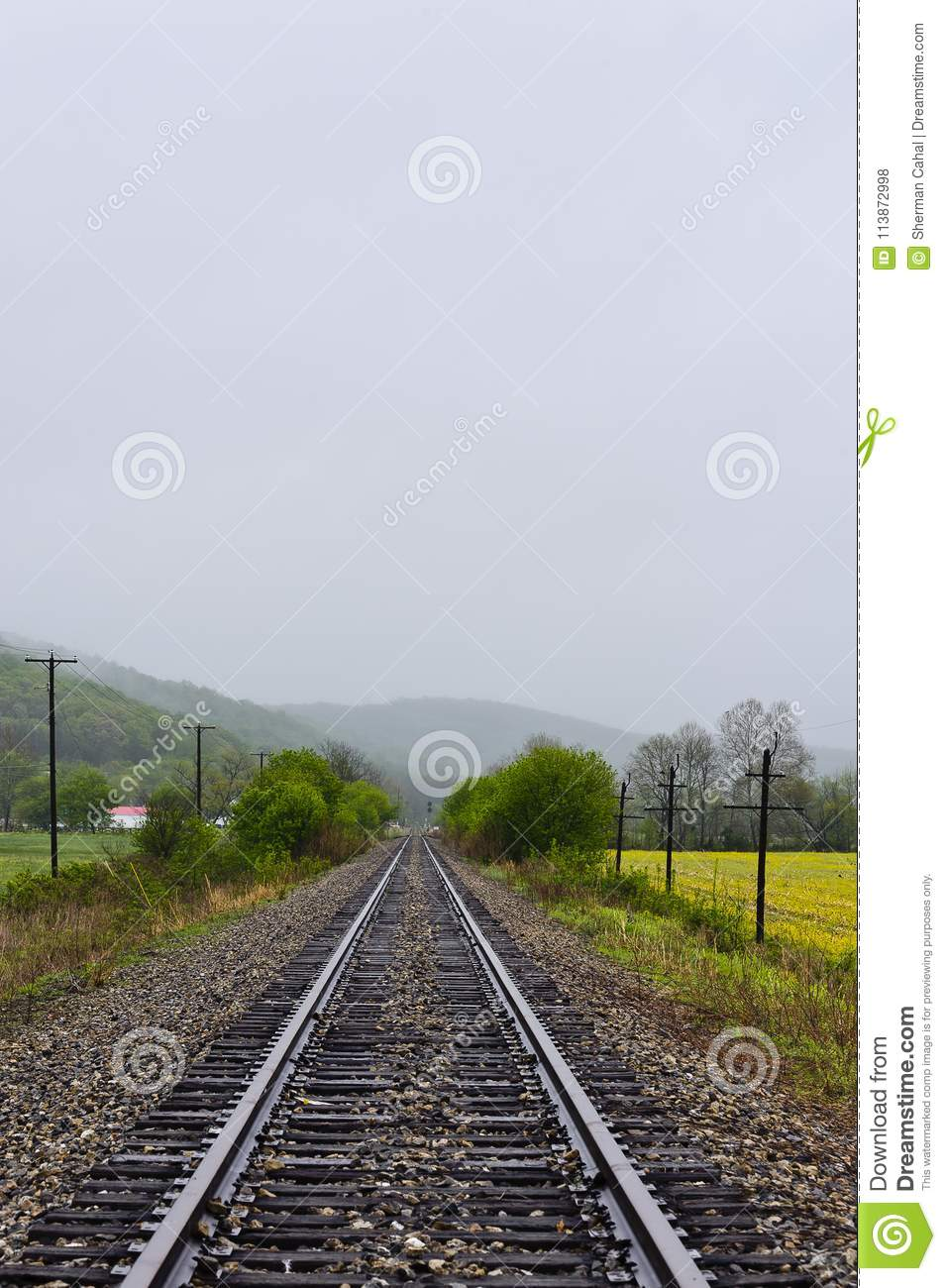 Foggy Afternoon - Abandoned Railroad - Southern Ohio Stock Photo
