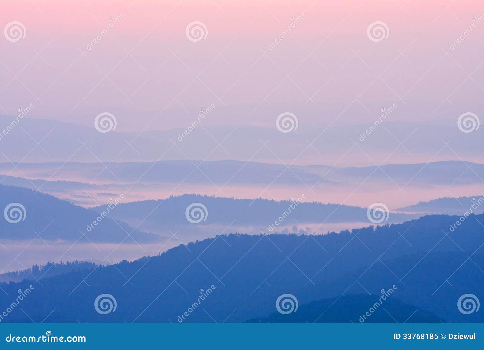 Foggy landscape in Bieszczady Mountains