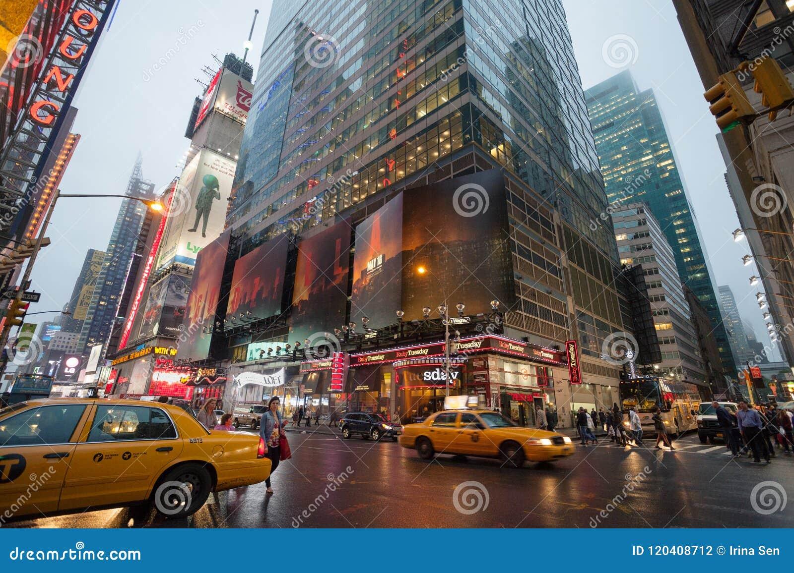 Foggy Manhattan - Night traffic nearby Times square, New York, Midtown, Manhattan. New York, Unites States