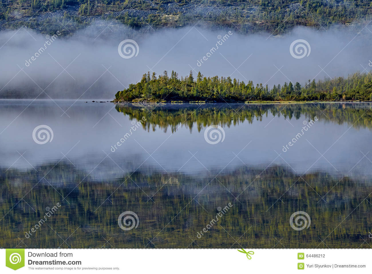 Foggy morning on island. Jack Londonas lake. Kolyma