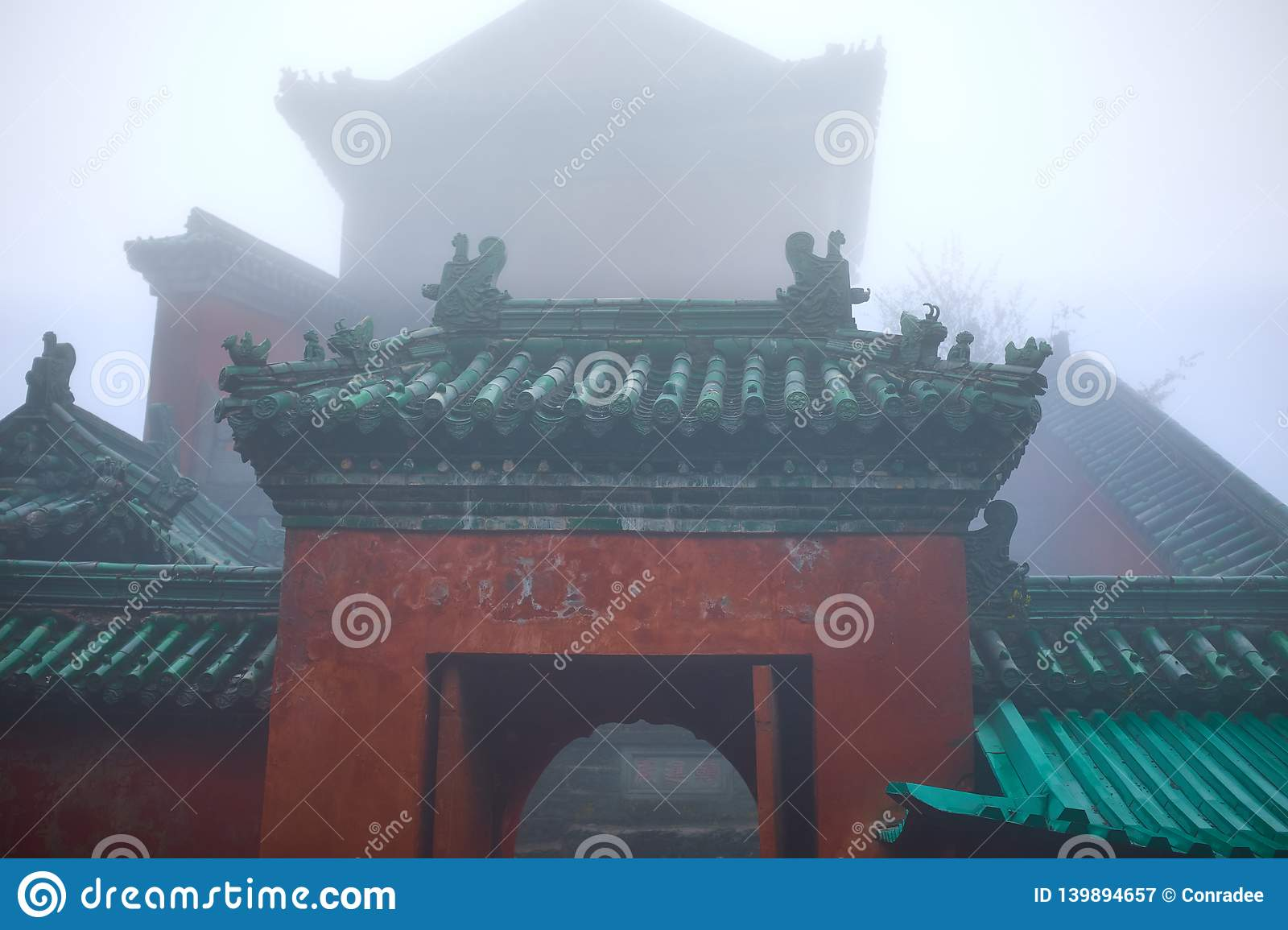 Entrance to the old kungfu Temple on a wall of mountain
