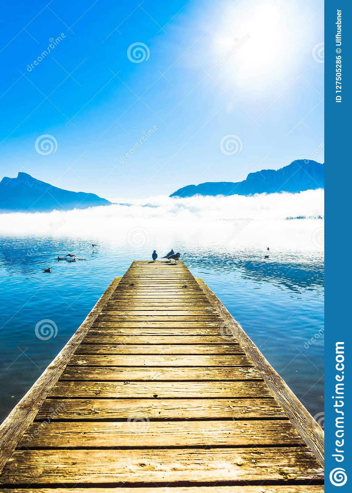 Foggy mountain landscape with seagulls on Pier of lake Mondsee i