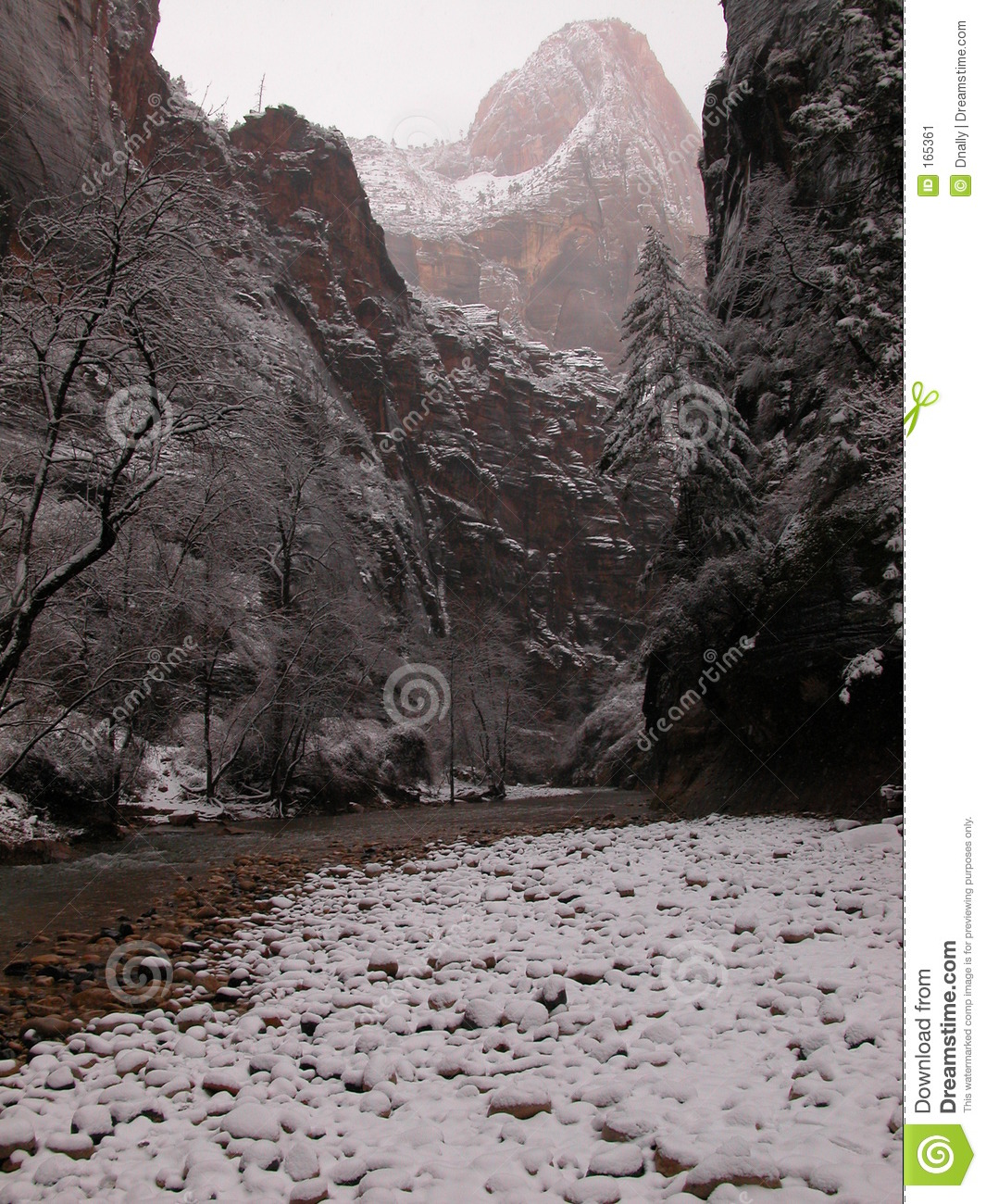 Foggy and Snowy Zion Narrows