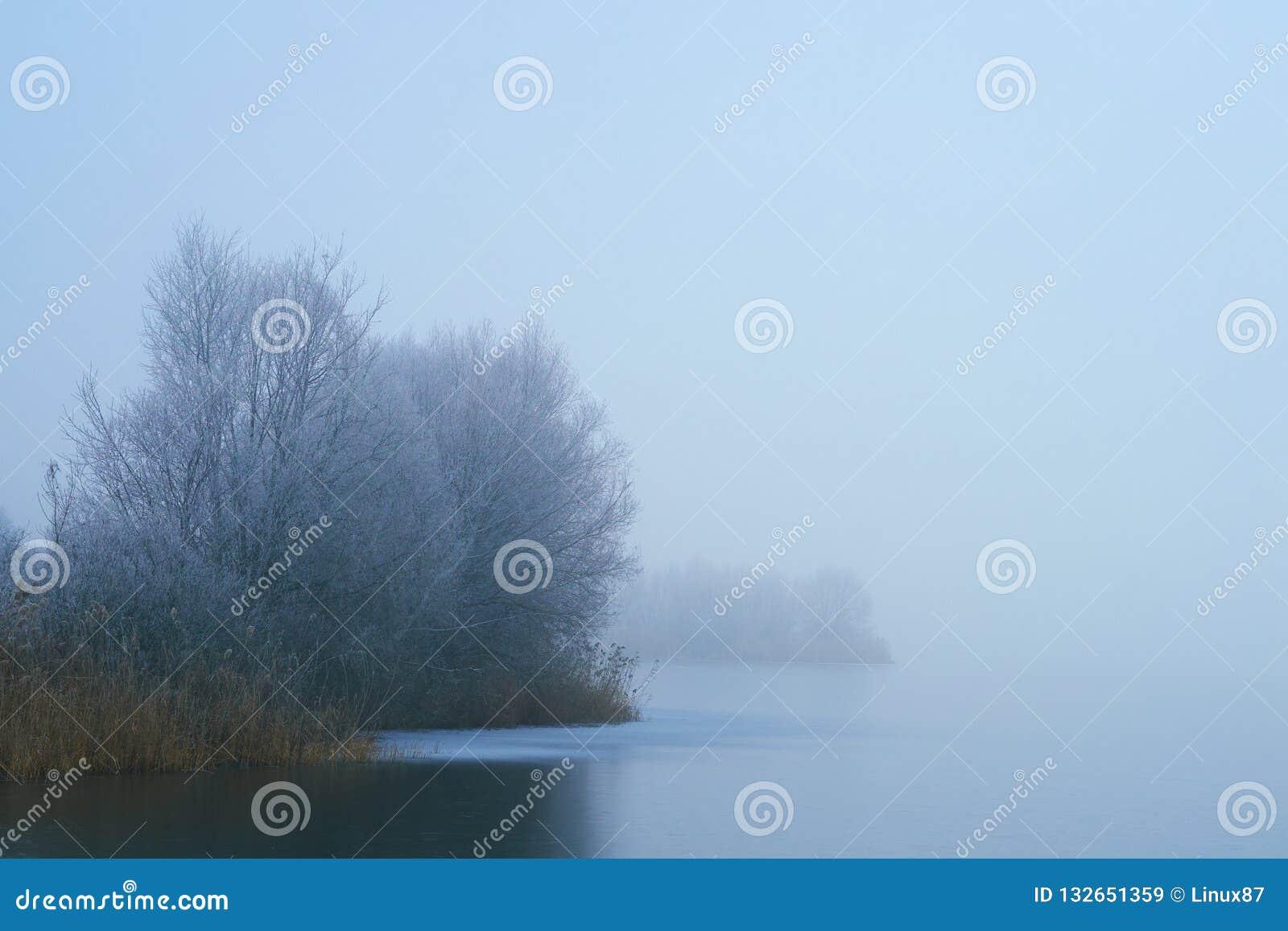 Foggy winter frozen lake