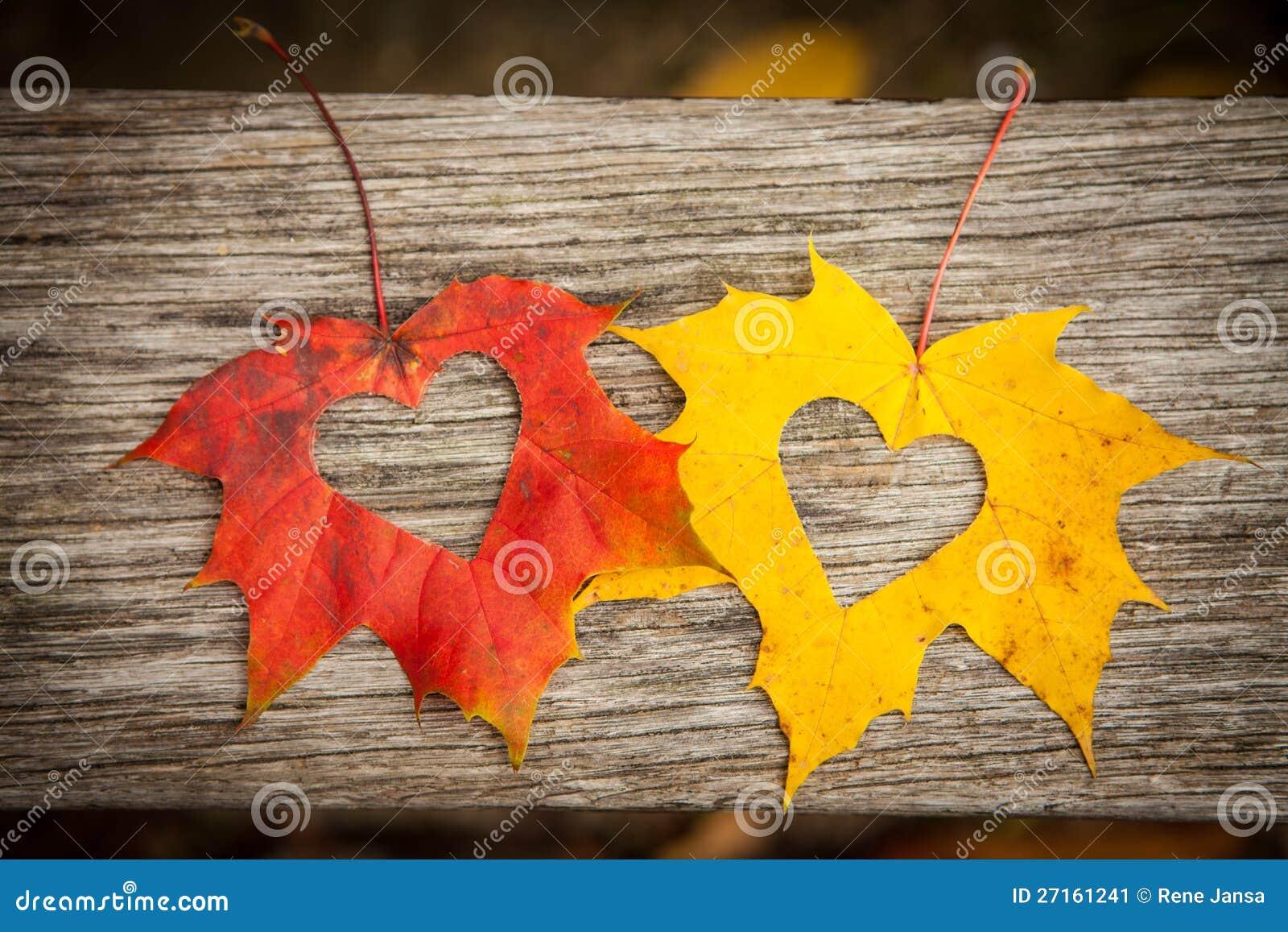 Fogli di autunno con i cuori