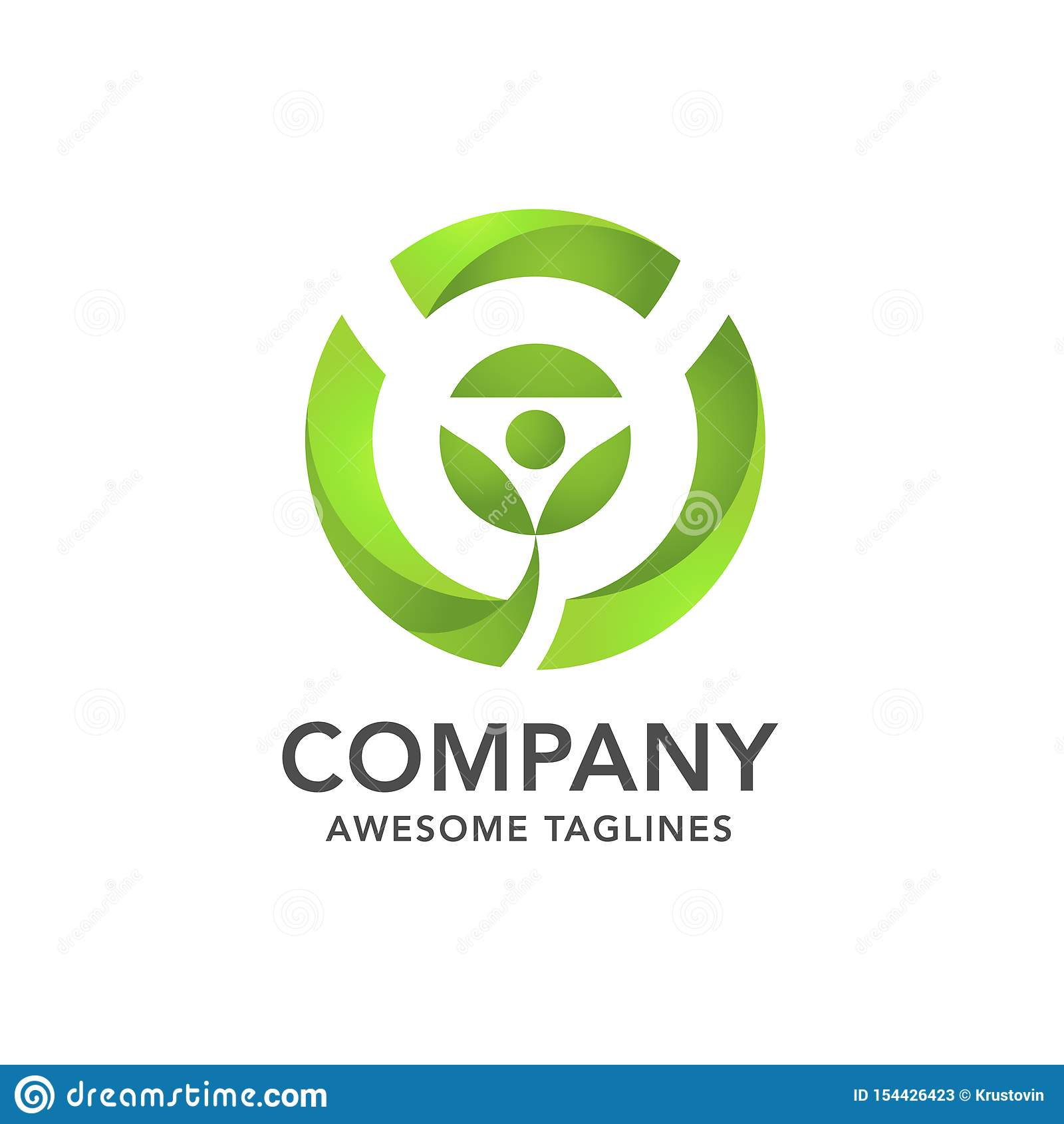 Foglia del germoglio con il logo verde del cerchio