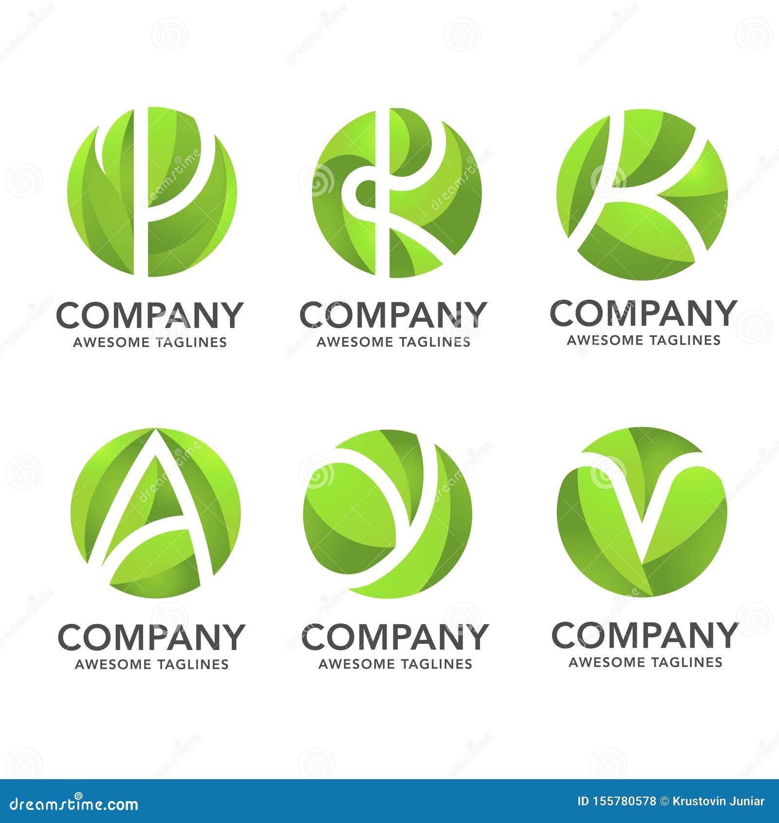 Foglia di verde del cerchio con il vario logo nascosto della lettera