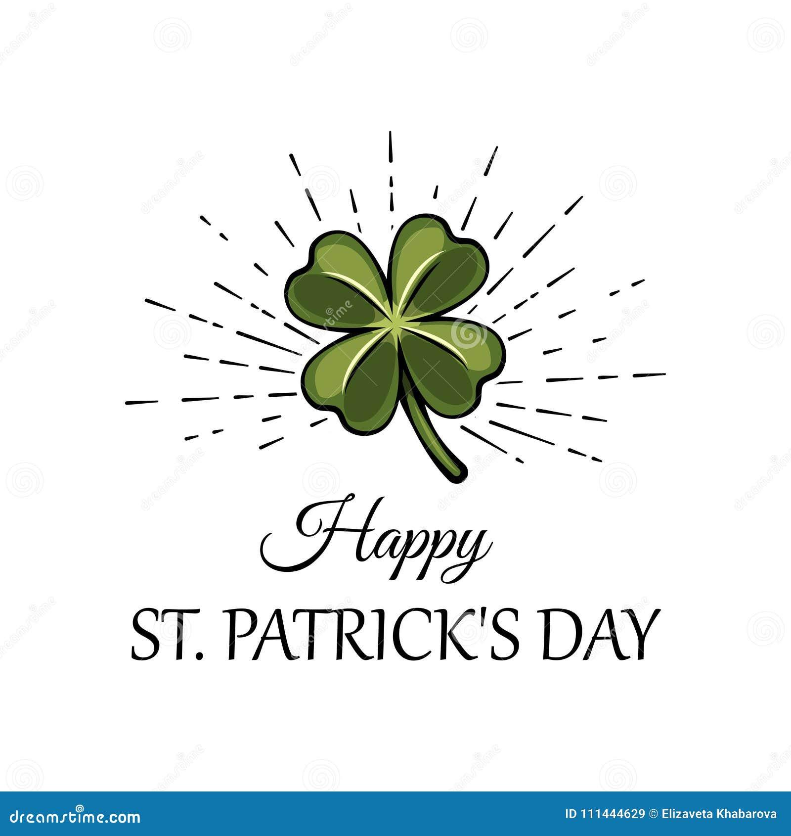 Foglia verde in fasci, un attributo del trifoglio di tre foglie al giorno di St Patrick s Illustrazione di vettore