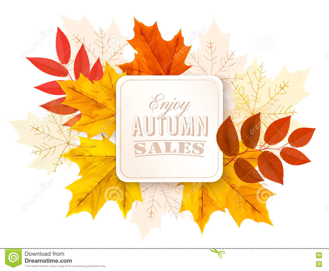Foglie di Autumn Abstract Banner With Colorful