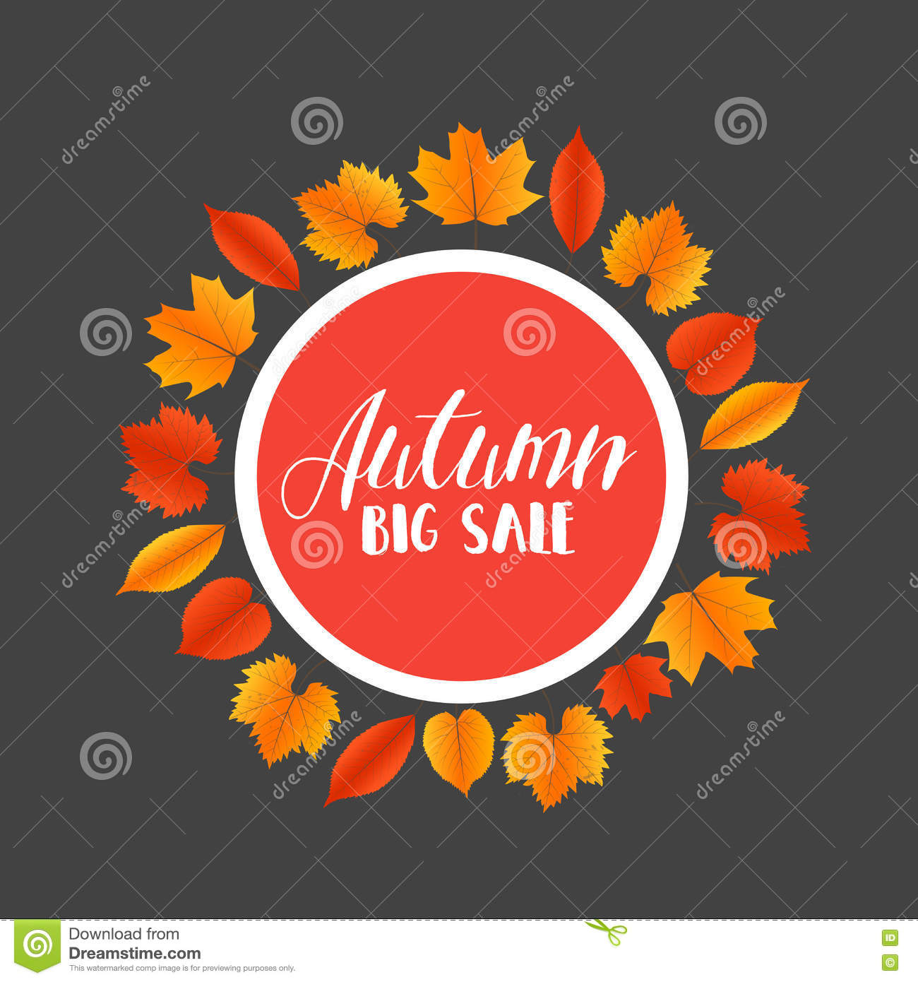 Foglie di Autumn Sales Banner With Colorful Vettore