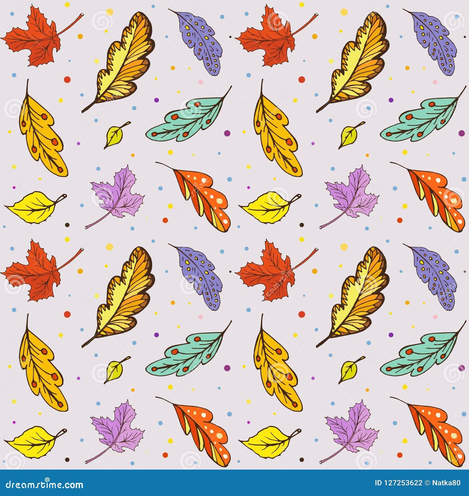 Foglie di autunno di scarabocchio del modello