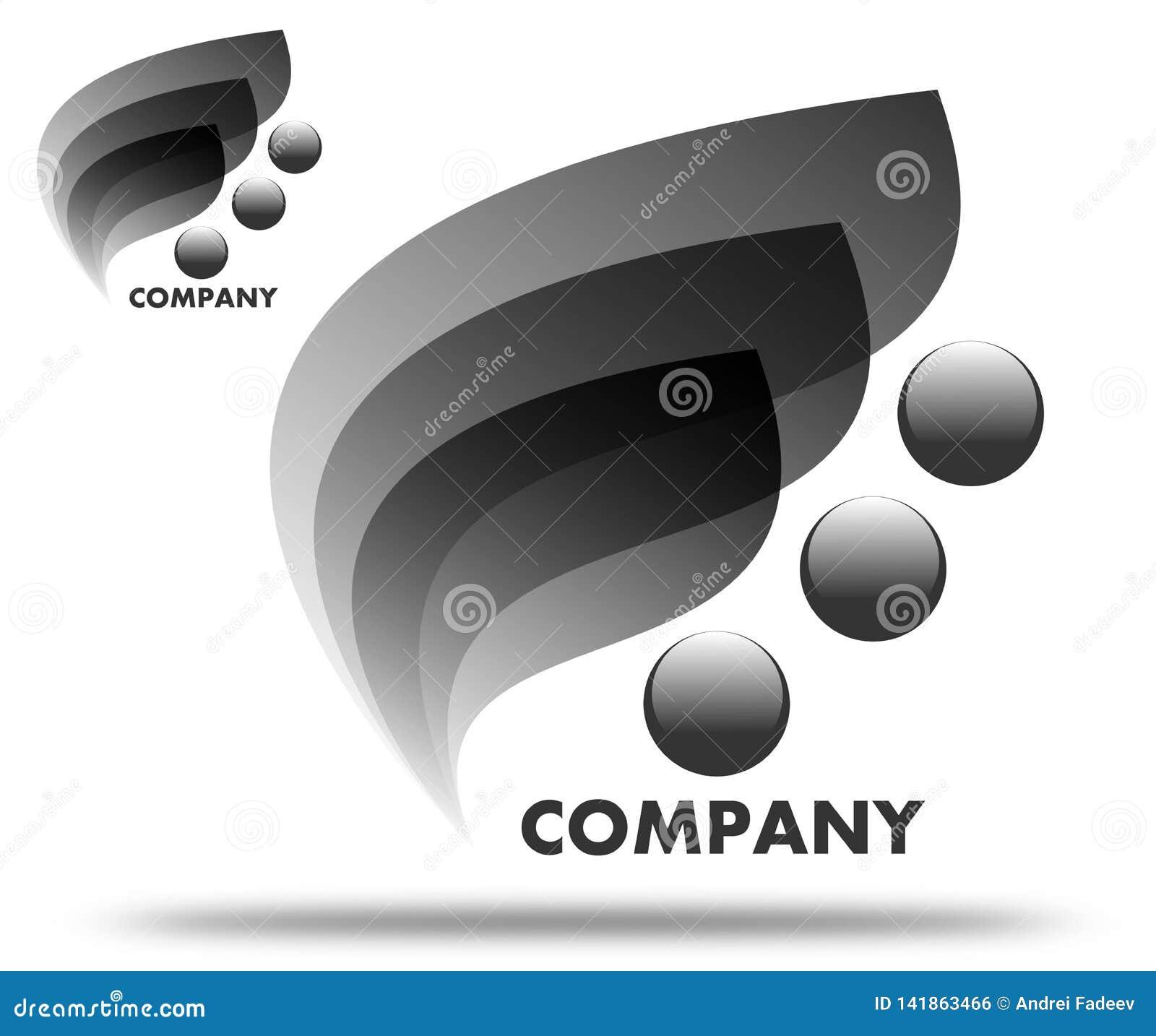 Foglie di disegno del nero di logo della società