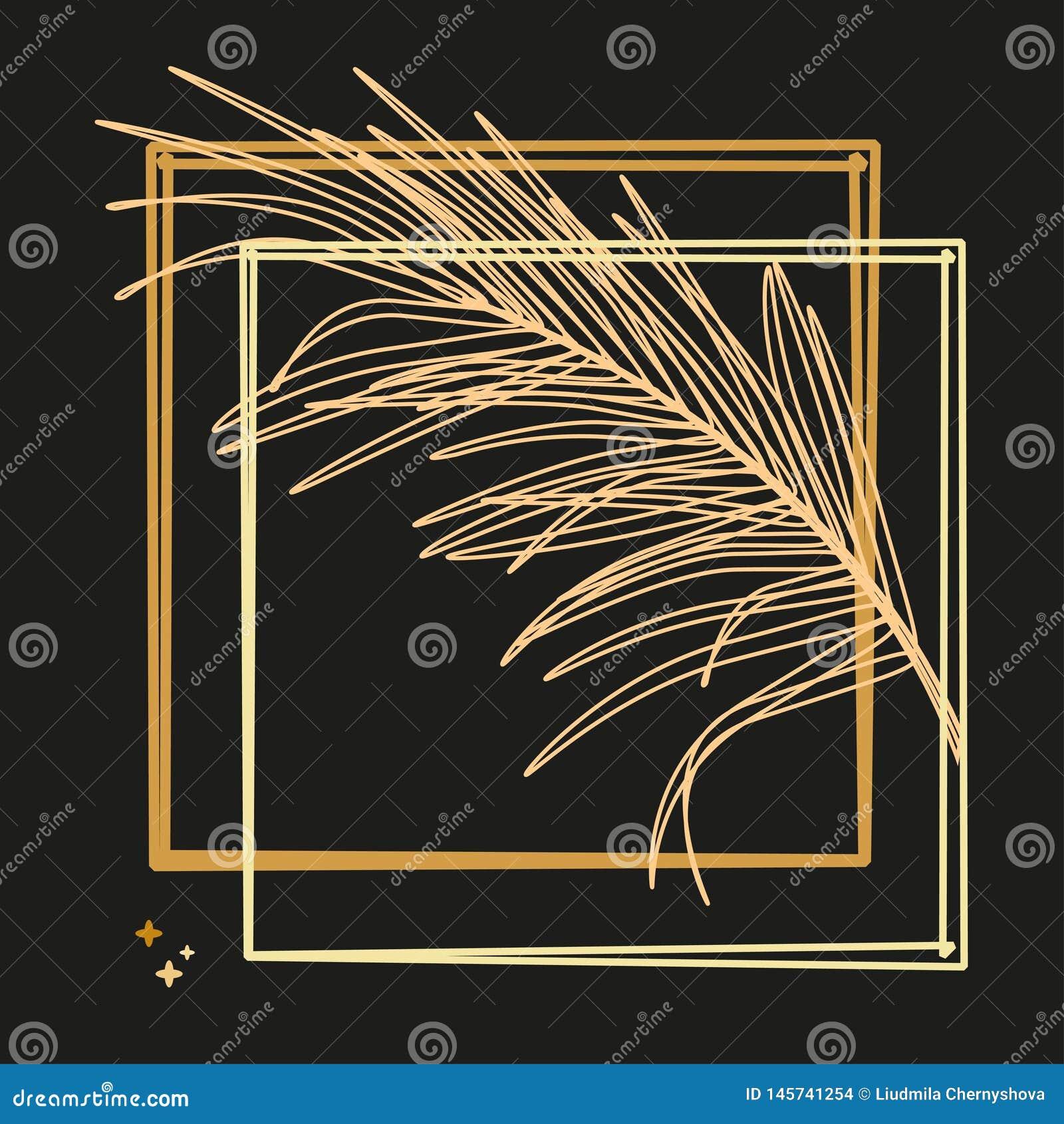 Foglie di palma e struttura lussuosa nel colore dell oro Illustrazione tropicale del fiore su fondo nero