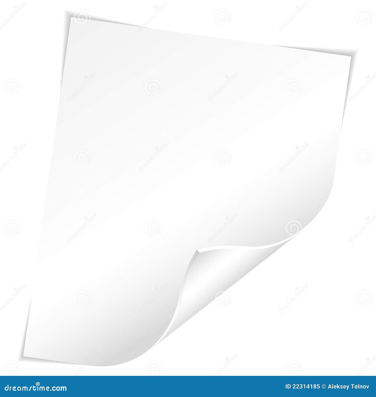 Foglio di carta in bianco con l 39 angolo curvo illustrazione - Foglio laminato bianco ...