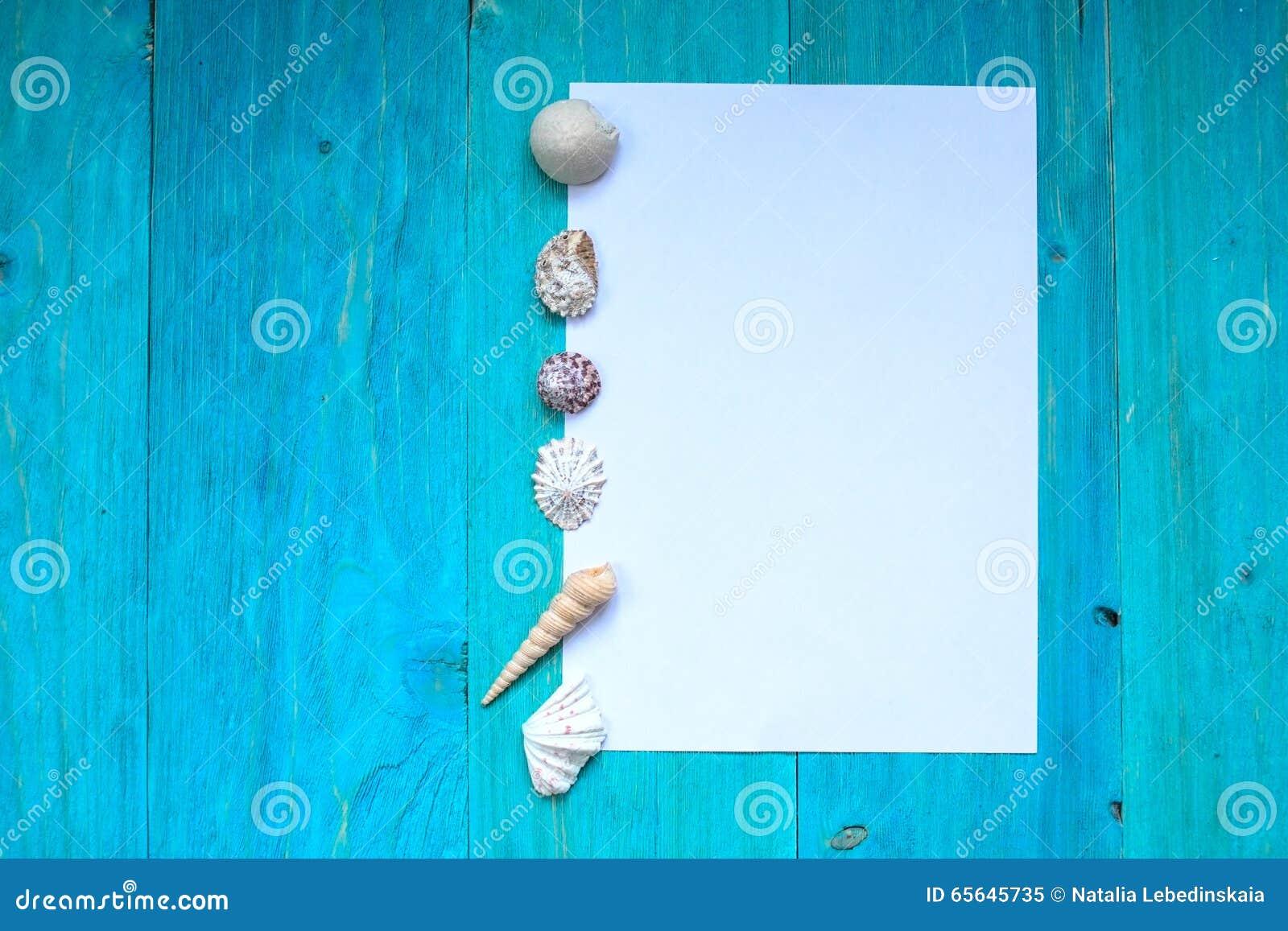 Foglio di carta bianco (spazio per testo), conchiglie, legno blu