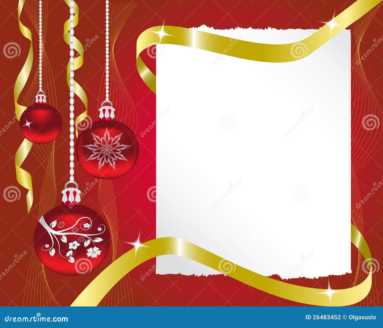 Foglio di carta e le decorazioni di natale illustrazione - Decorazioni natale di carta ...