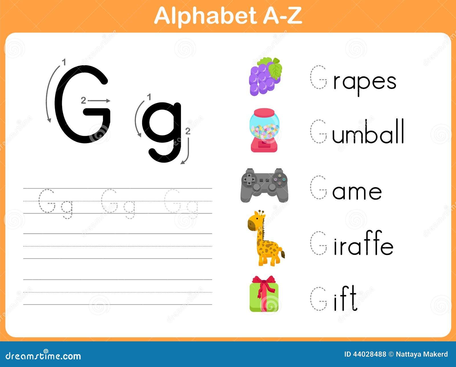 Foglio di lavoro di rintracciamento di alfabeto