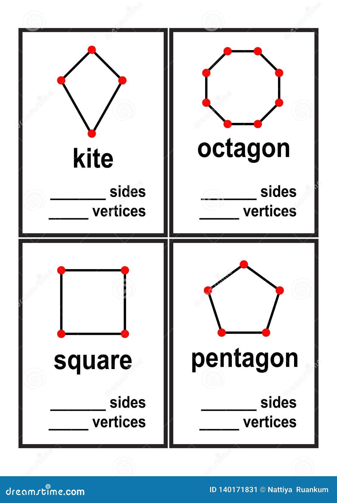 Foglio di lavoro di forme dei lati e di vertici di conteggio per il vettore prescolare dei bambini
