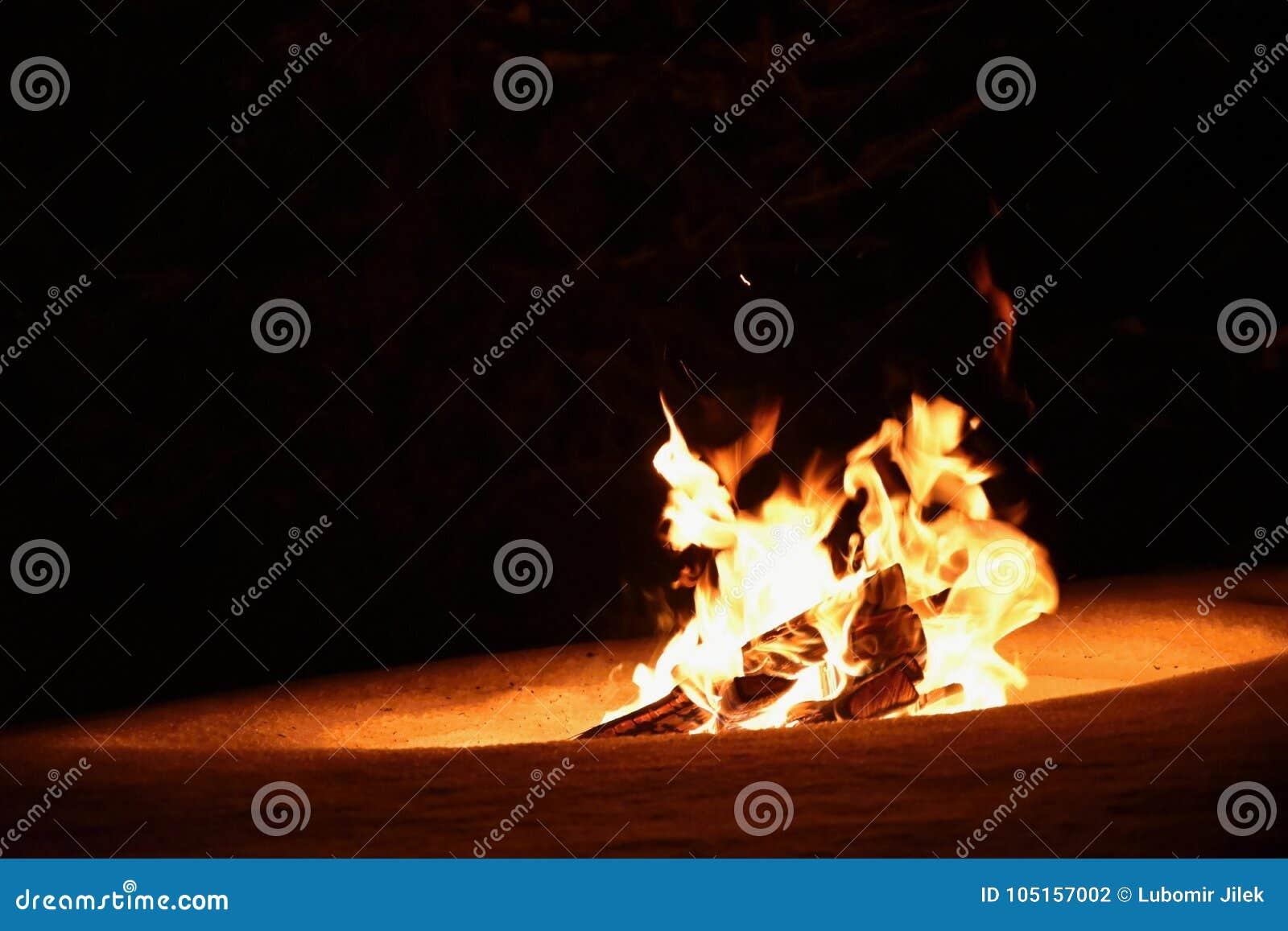 Fogo ardente no inverno na neve e na noite bonfire