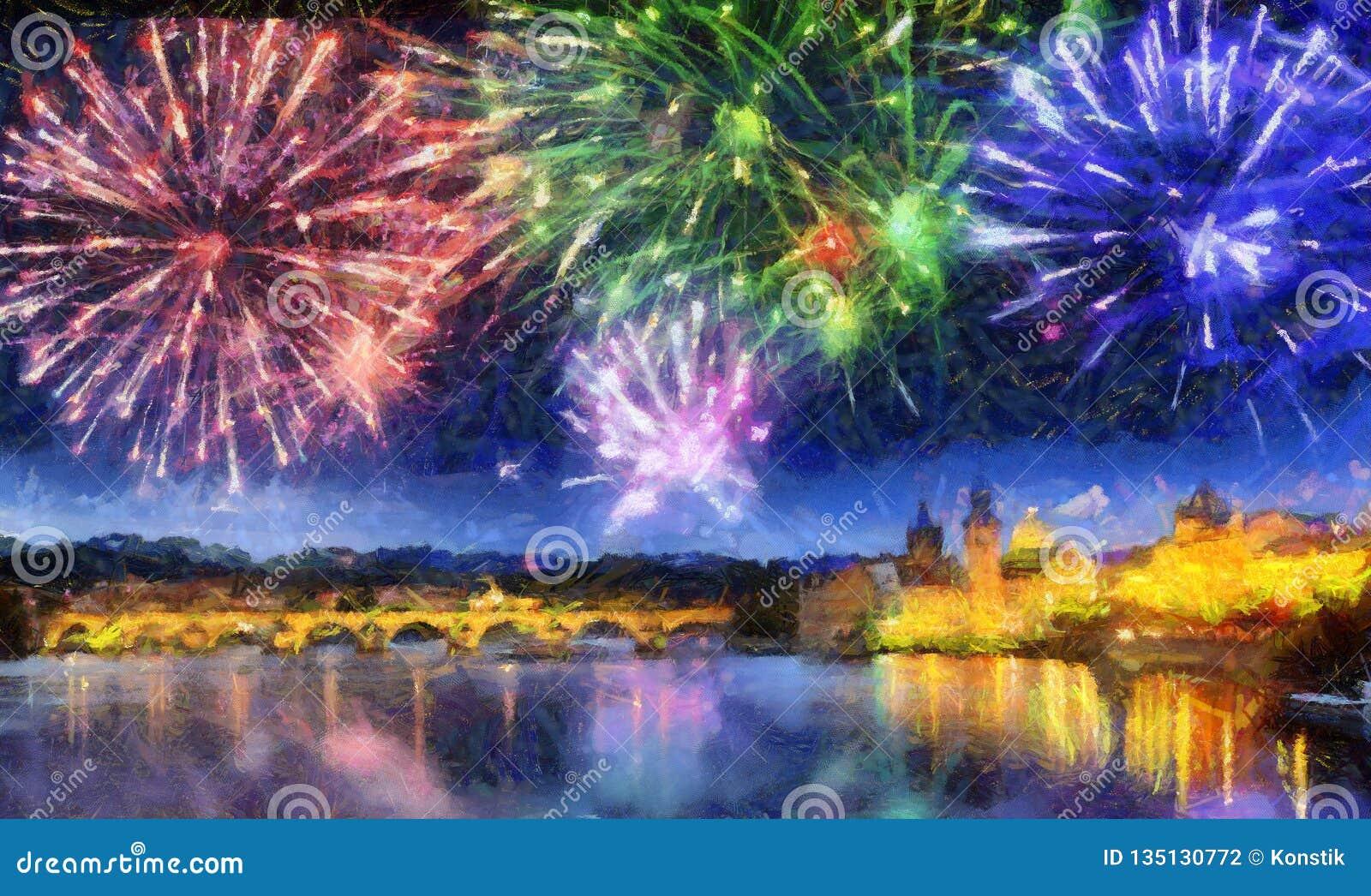 Fogo de artifício festivo sobre Charles Bridge, Praga, República Checa