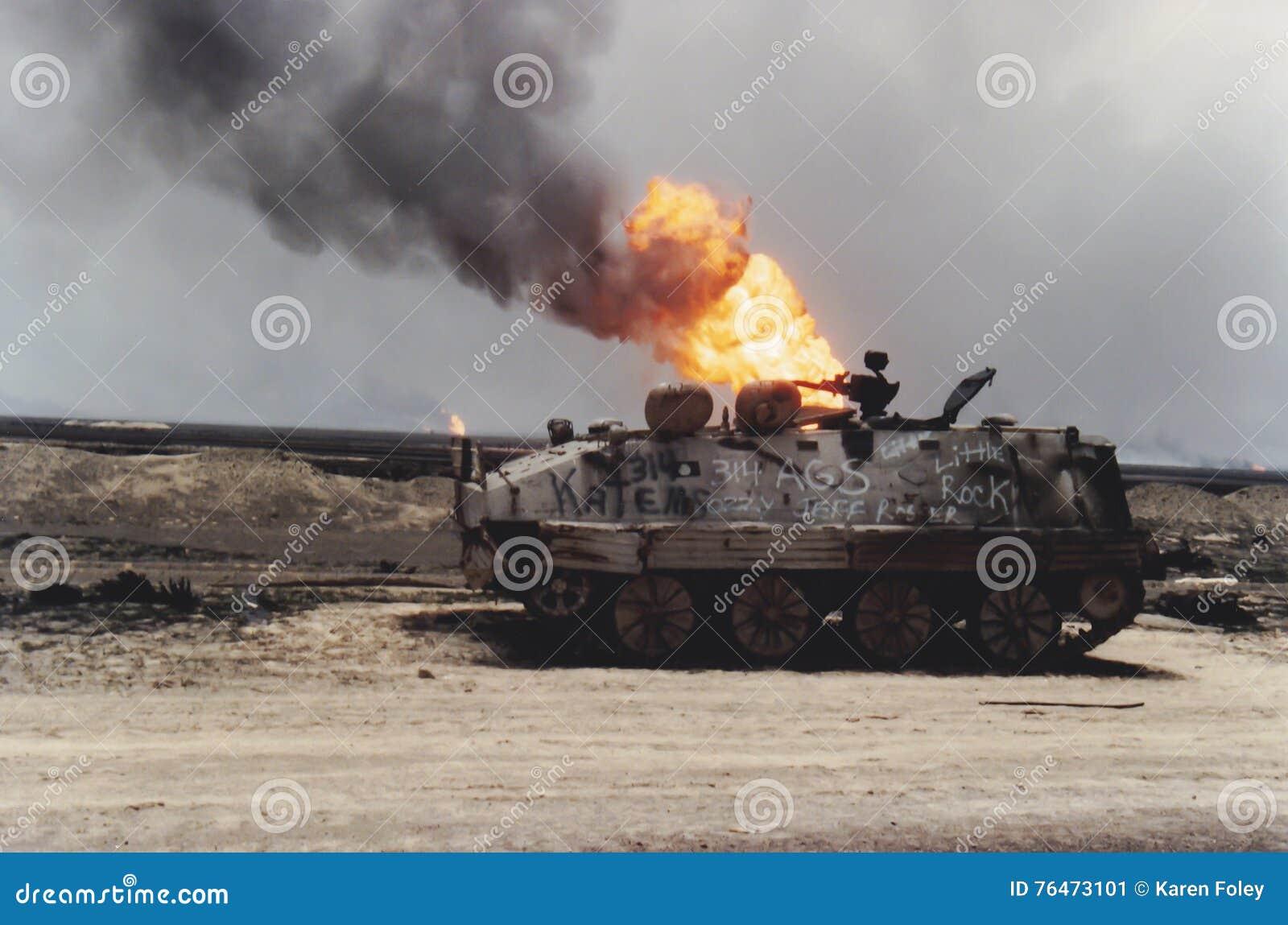 Fogo do tanque e do poço de petróleo, Kuwait, guerra do Golfo Pérsico