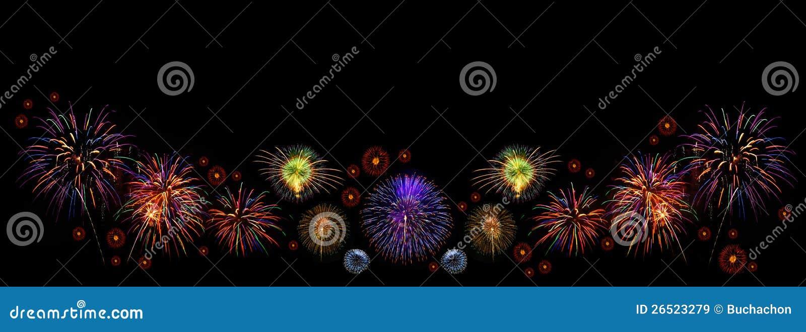 Fogos-de-artifício coloridos de várias cores