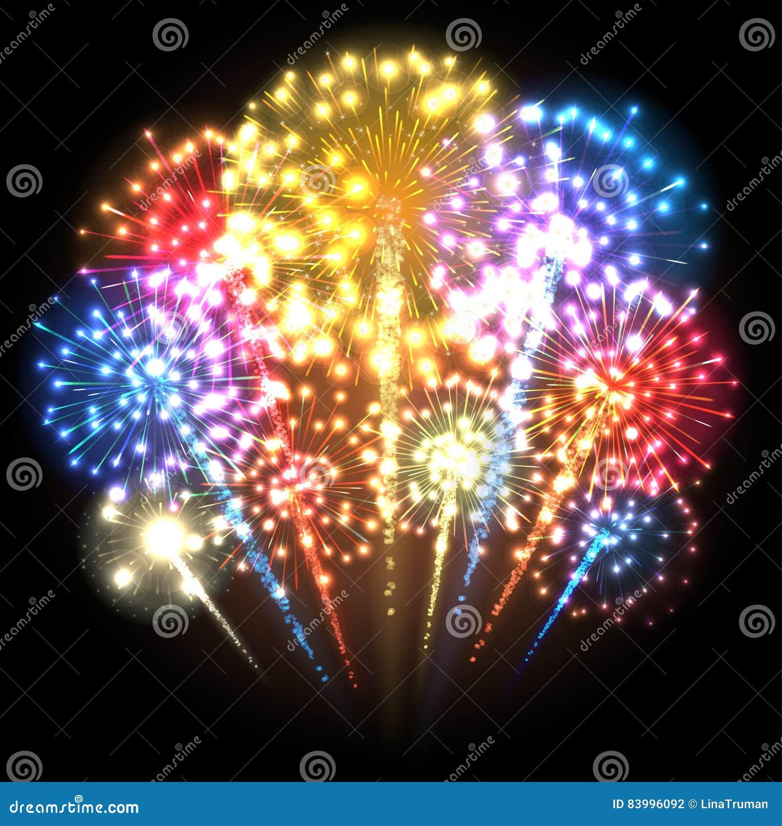 a7ea9416a0 Fogos-de-artifício coloridos grandes Luzes coloridos Ilustração do vetor