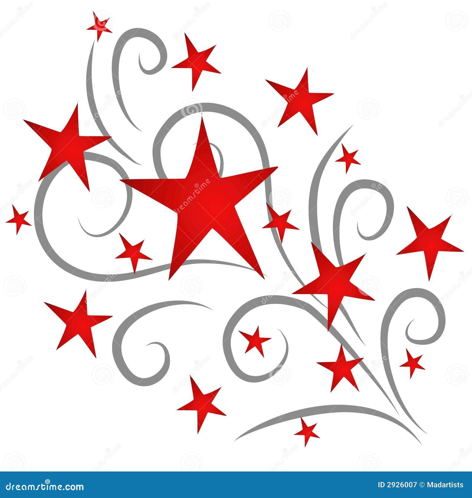 Fogos-de-artifício das estrelas de tiro vermelhos