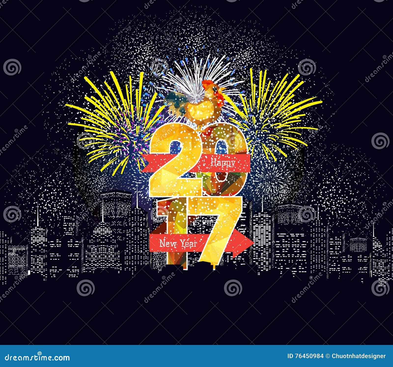 Fogos-de-artifício do ano novo feliz projeto do fundo de 2017 feriados