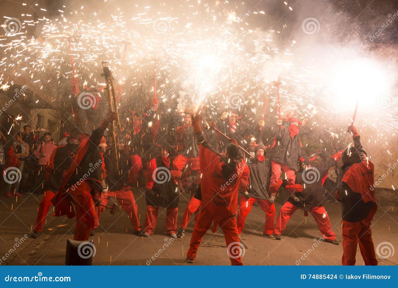 Fogos-de-artifício na festa de antonio sant