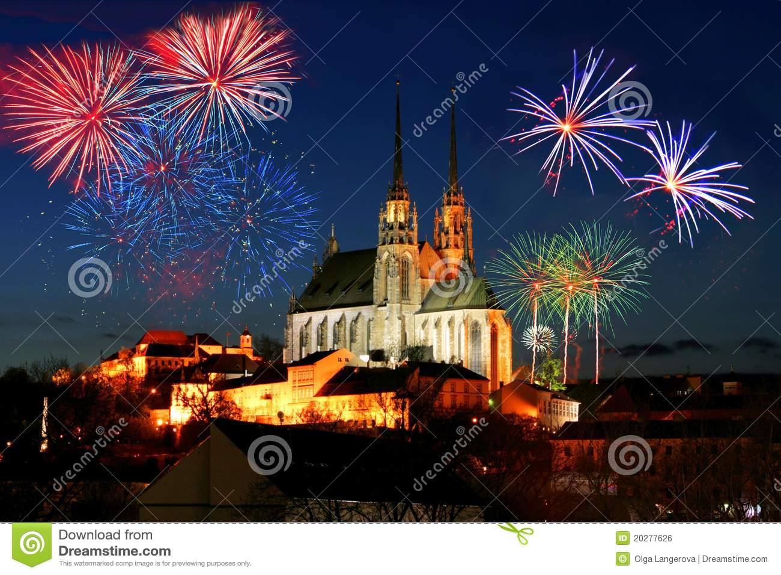 Fogos-de-artifício sobre Brno