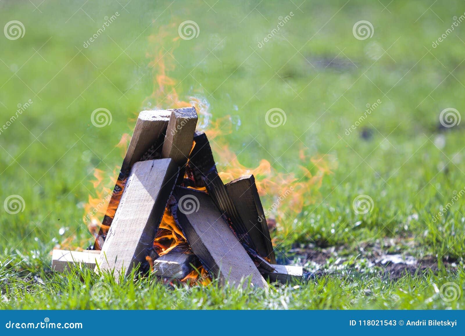 Fogueira de incandescência na natureza Pranchas de madeira ardentes fora no summ
