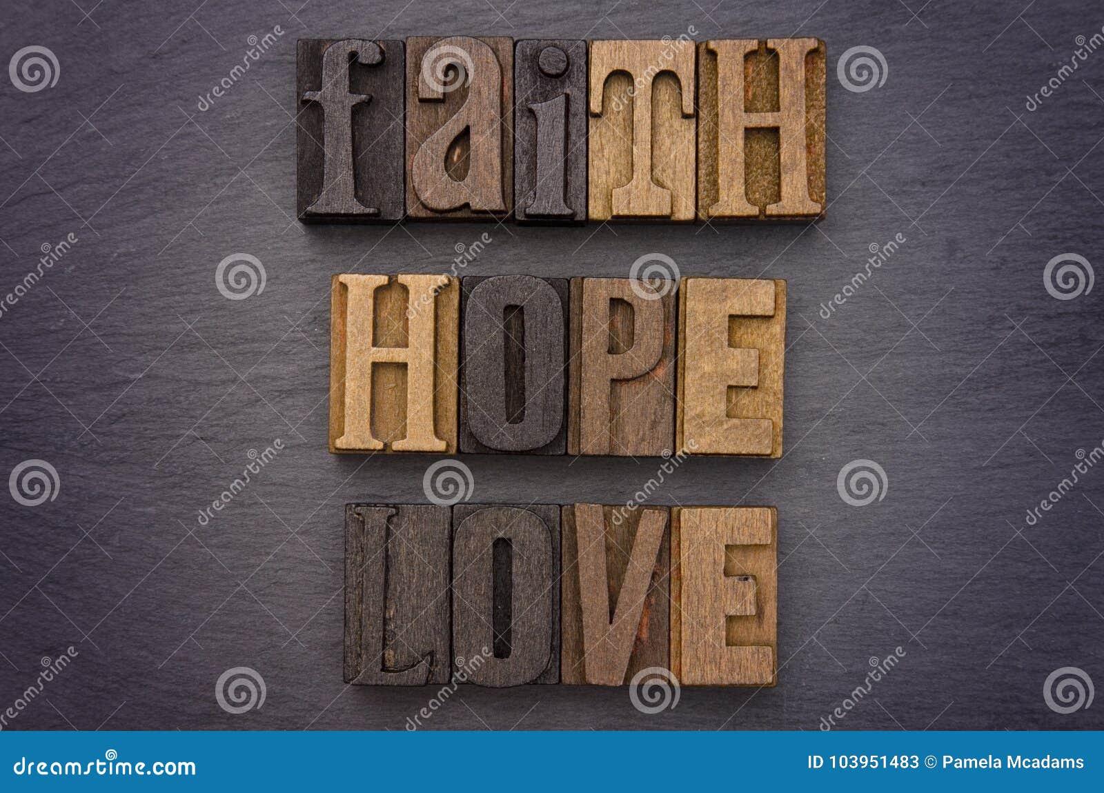Foi, espoir, amour défini dans le type ensemble