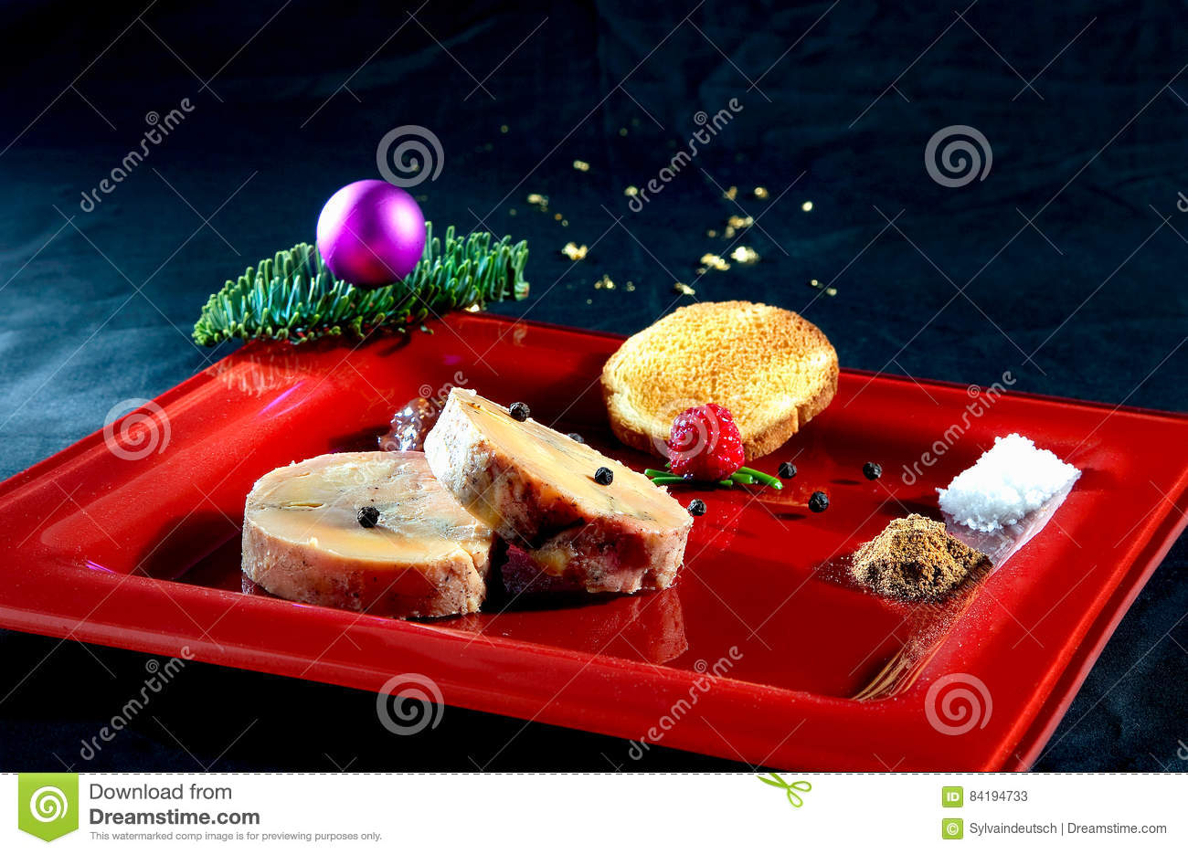 Foie gras on a red plate stock image image of dinner for Assiette foie gras decoration