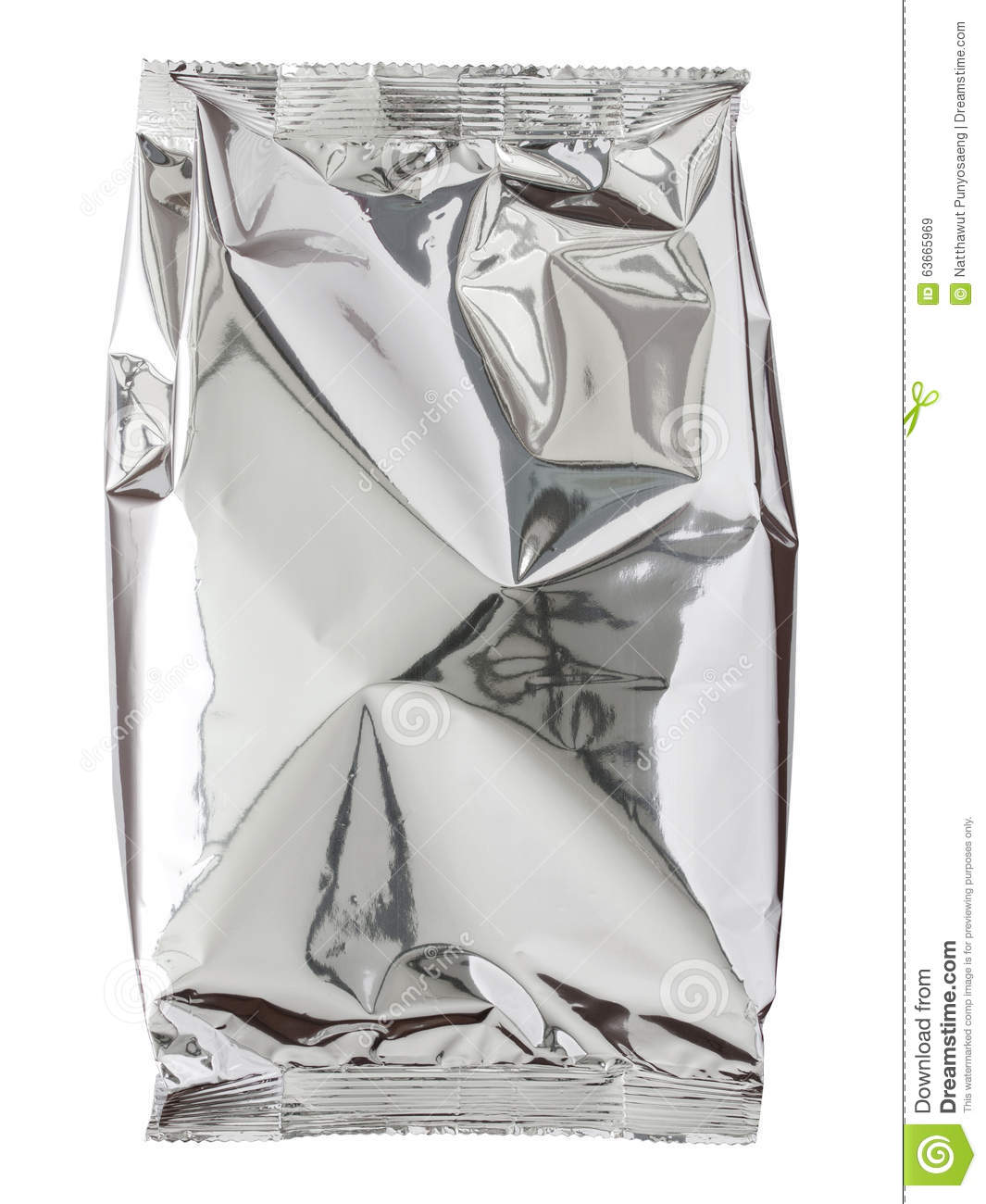 Download Foil Package Bag Isolated On White Stock Image - Image of cafe, aluminum: 63665969