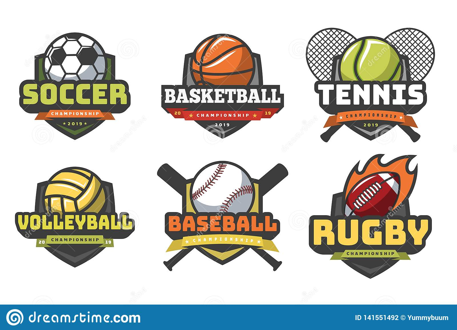 Folâtre des logos de boules Emblèmes de club d équipe d insigne de base-ball de tennis de rugby du football de volleyball de bask