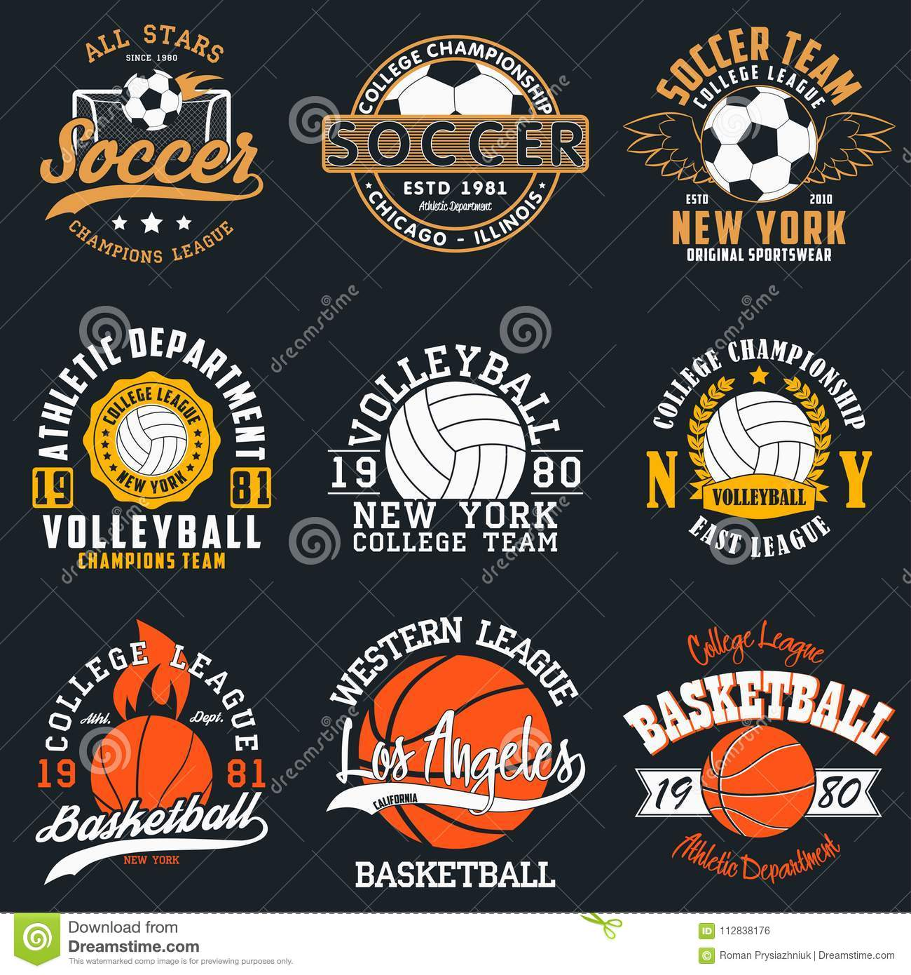 Folâtre la typographie de jeu - le football, volleyball et basket-ball Ensemble de copie sportive pour la conception de T-shirt G