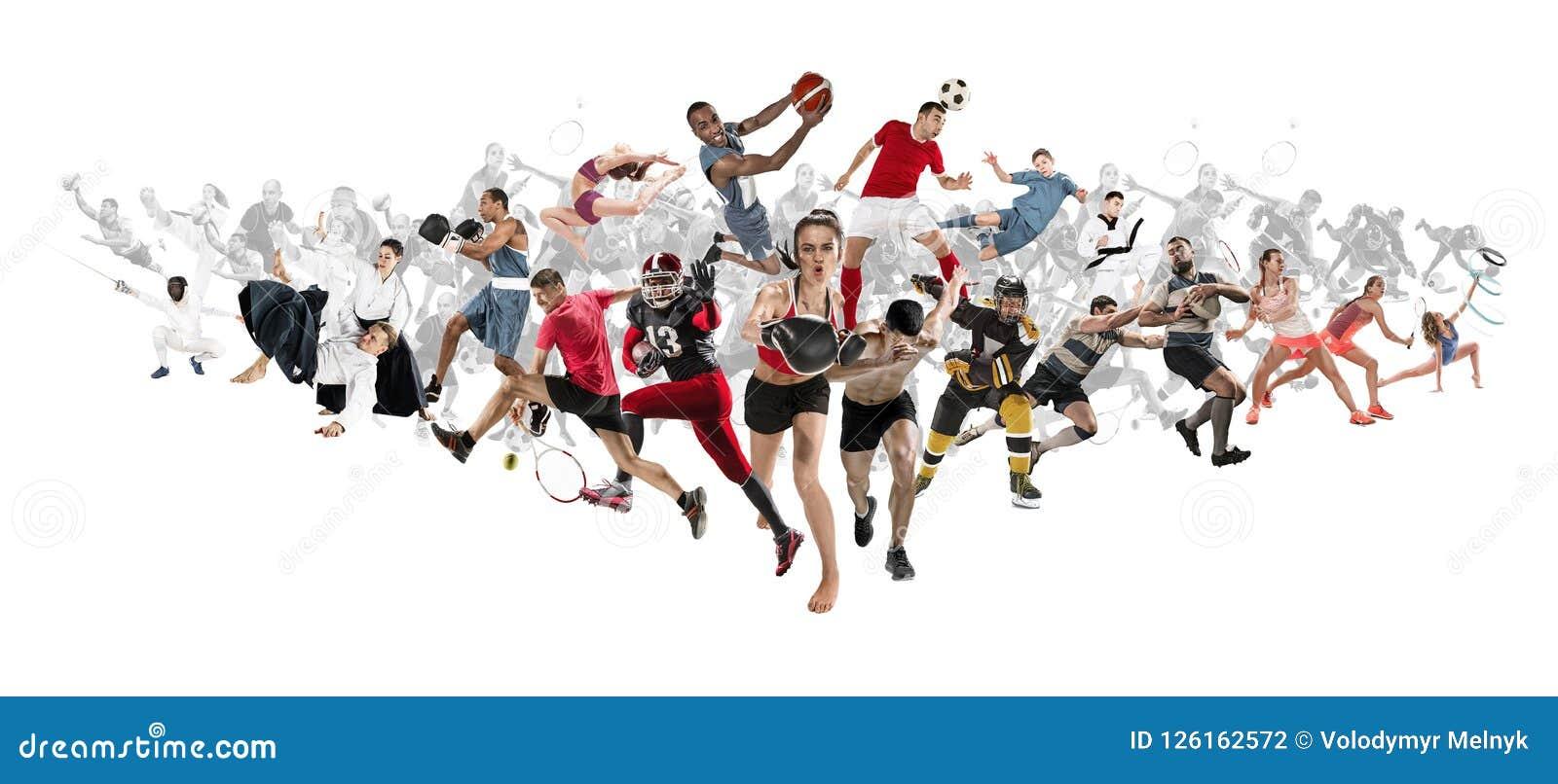 Folâtrez le collage au sujet de kickboxing, le football, football américain, basket-ball, hockey sur glace, badminton, le Taekwon