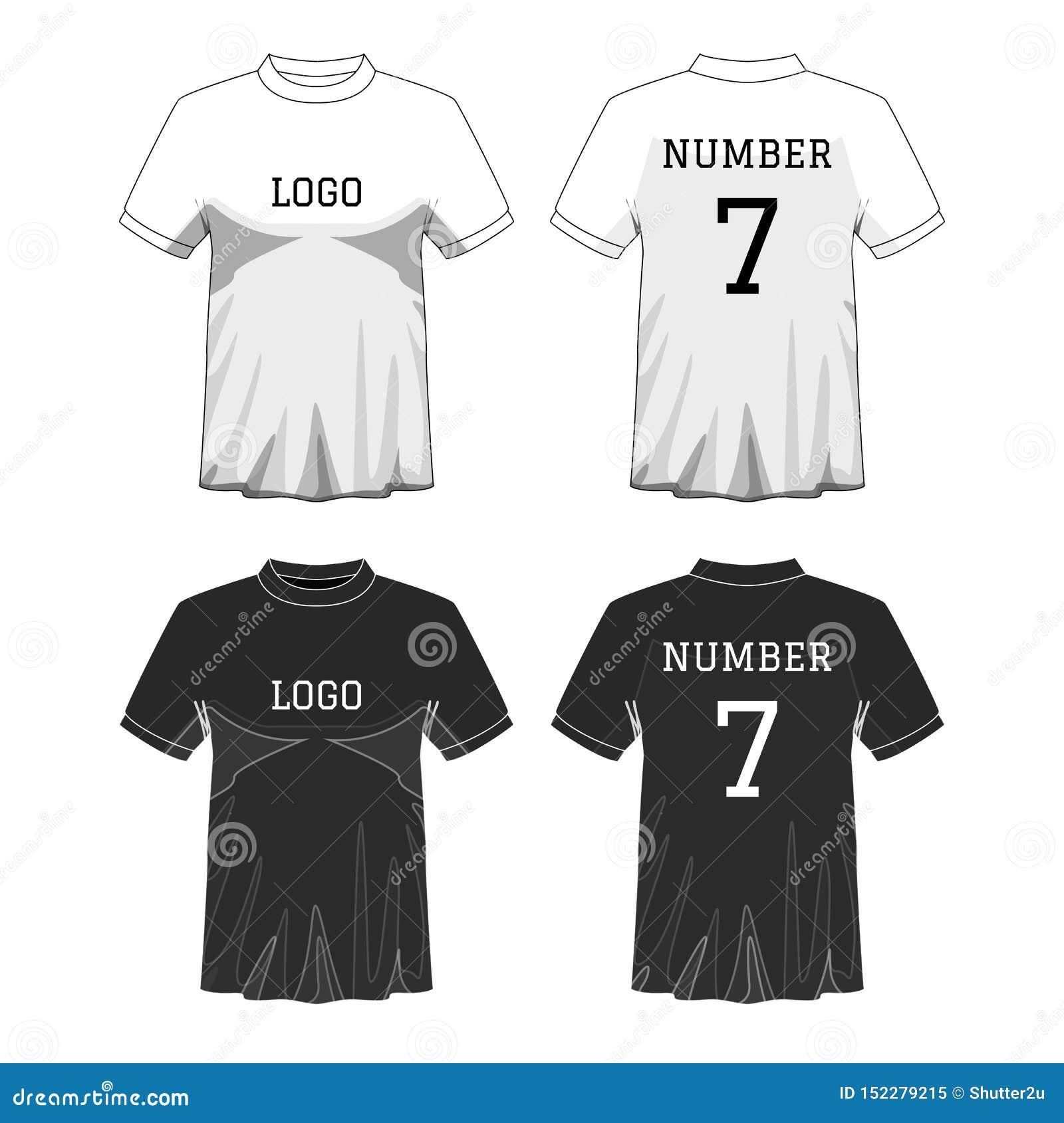 Fol?trez le T-shirt du ` s d hommes avec la douille courte dans l avant et les vues arri?res Couleur editable noire et blanche ou