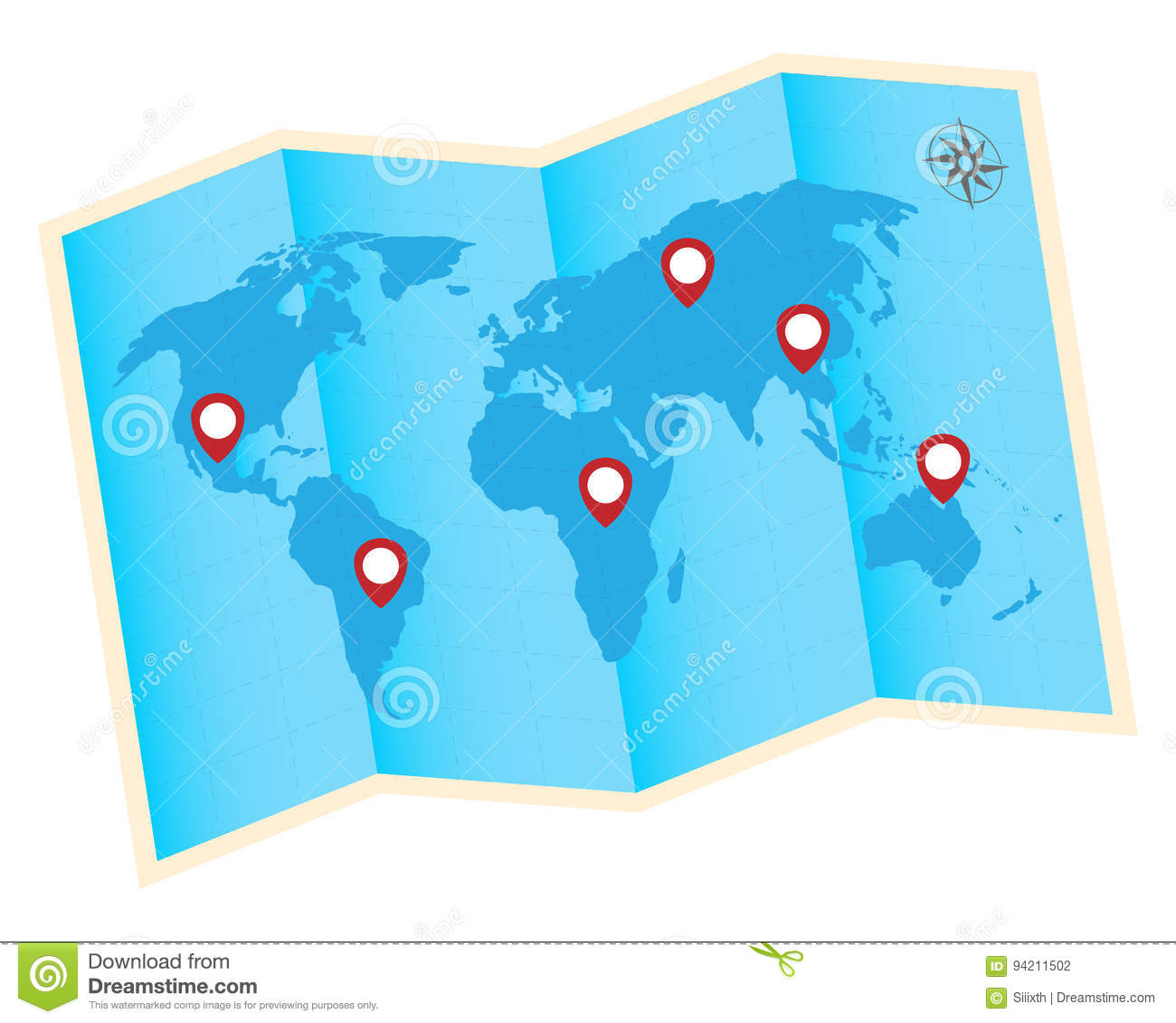 World Map Gps.Fold World Map With Red Gps Icon Stock Vector Illustration Of