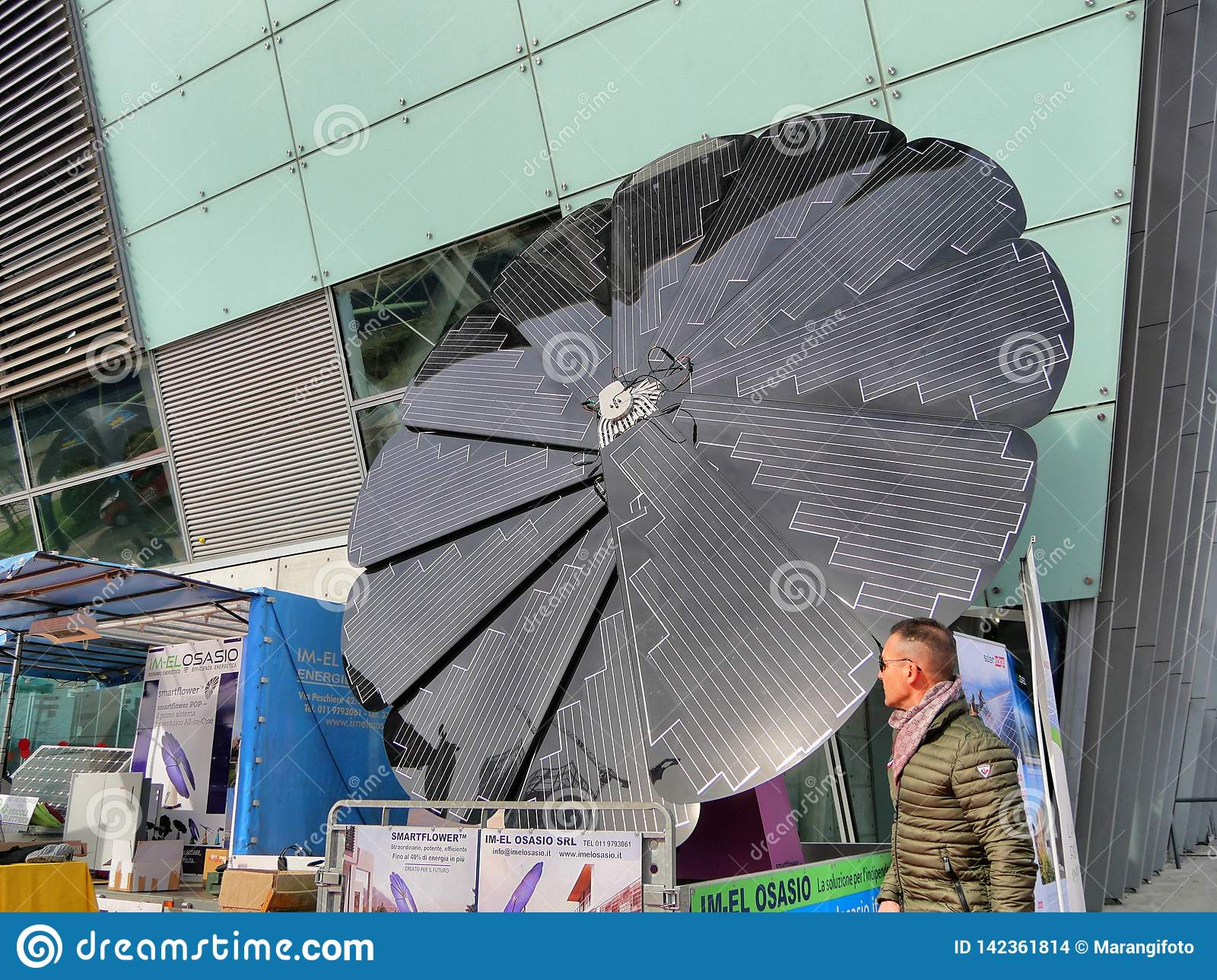 Foldable solar panel sunflower shaped on display