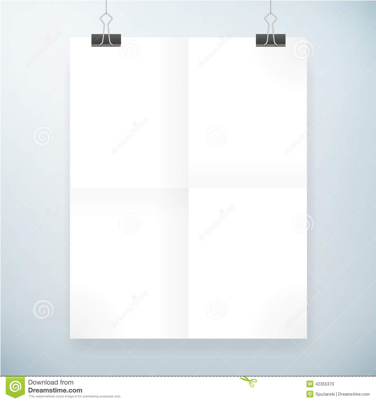 Folded Blank Paper Poster Template Stock Vector - Image ...