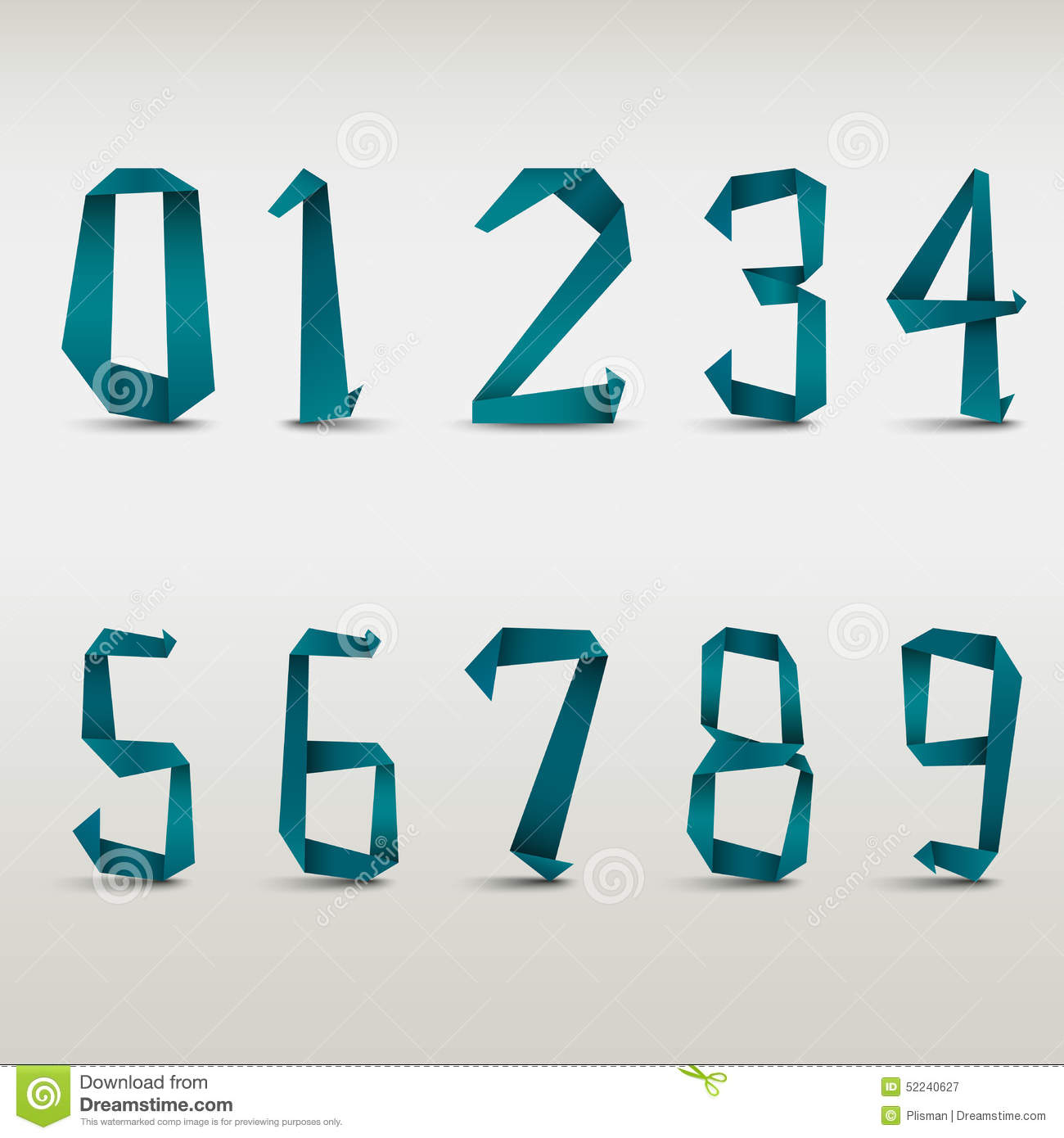 Folded Blue Paper Numbers Template Stock Vector